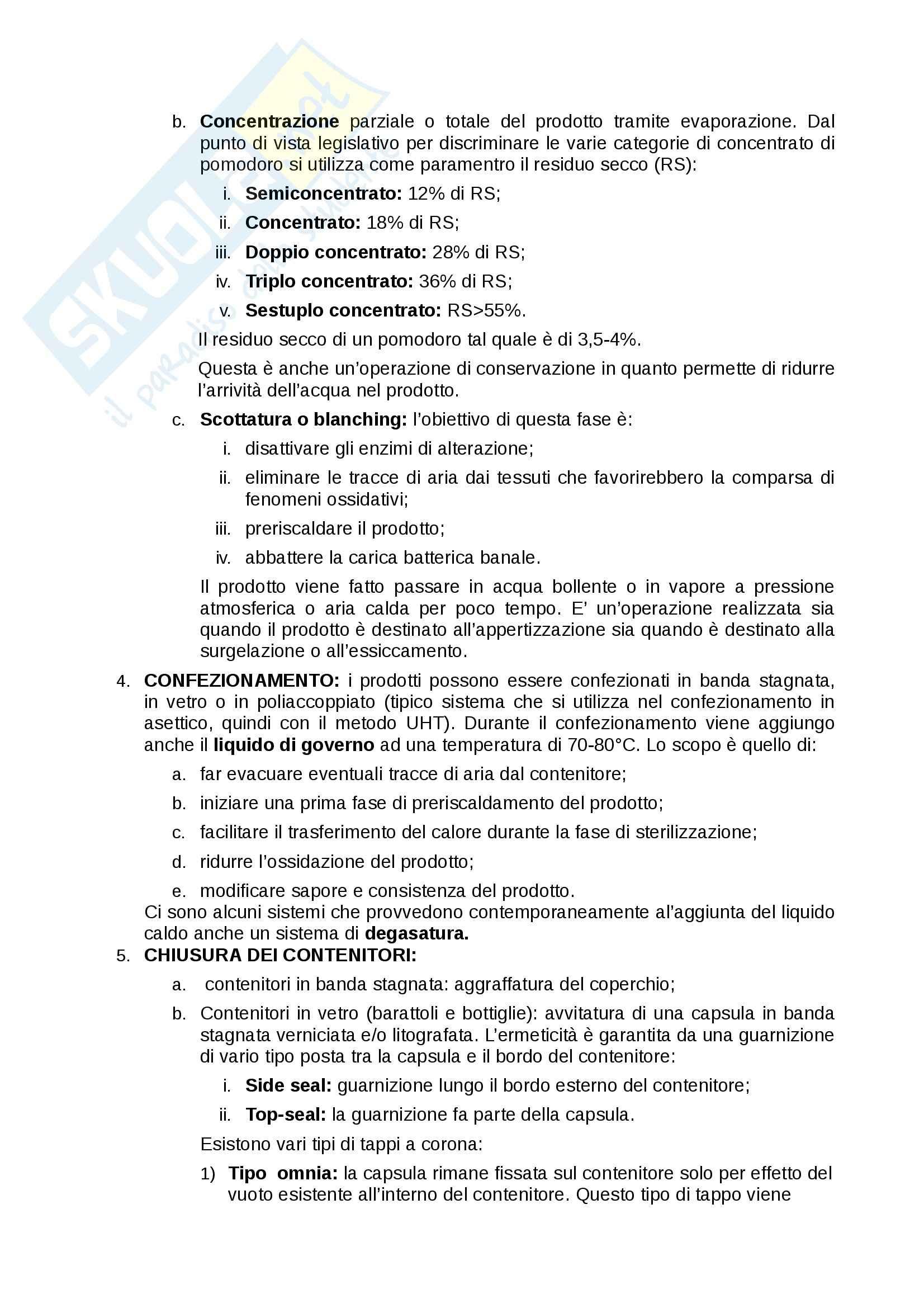 Processi delle industrie alimentari - conserve di pomodoro Pag. 2