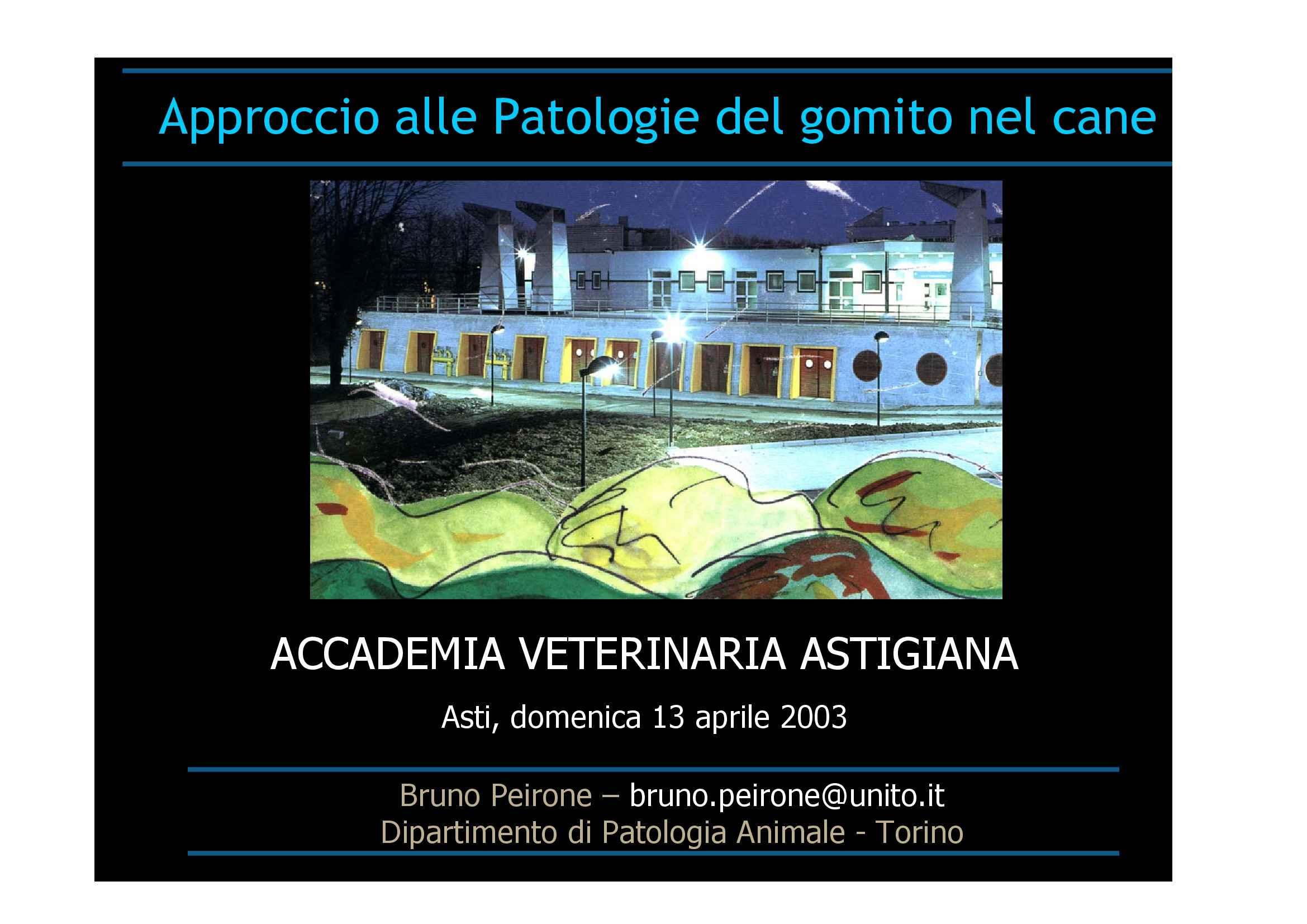 Trattamento delle patologie di gomito nel cane