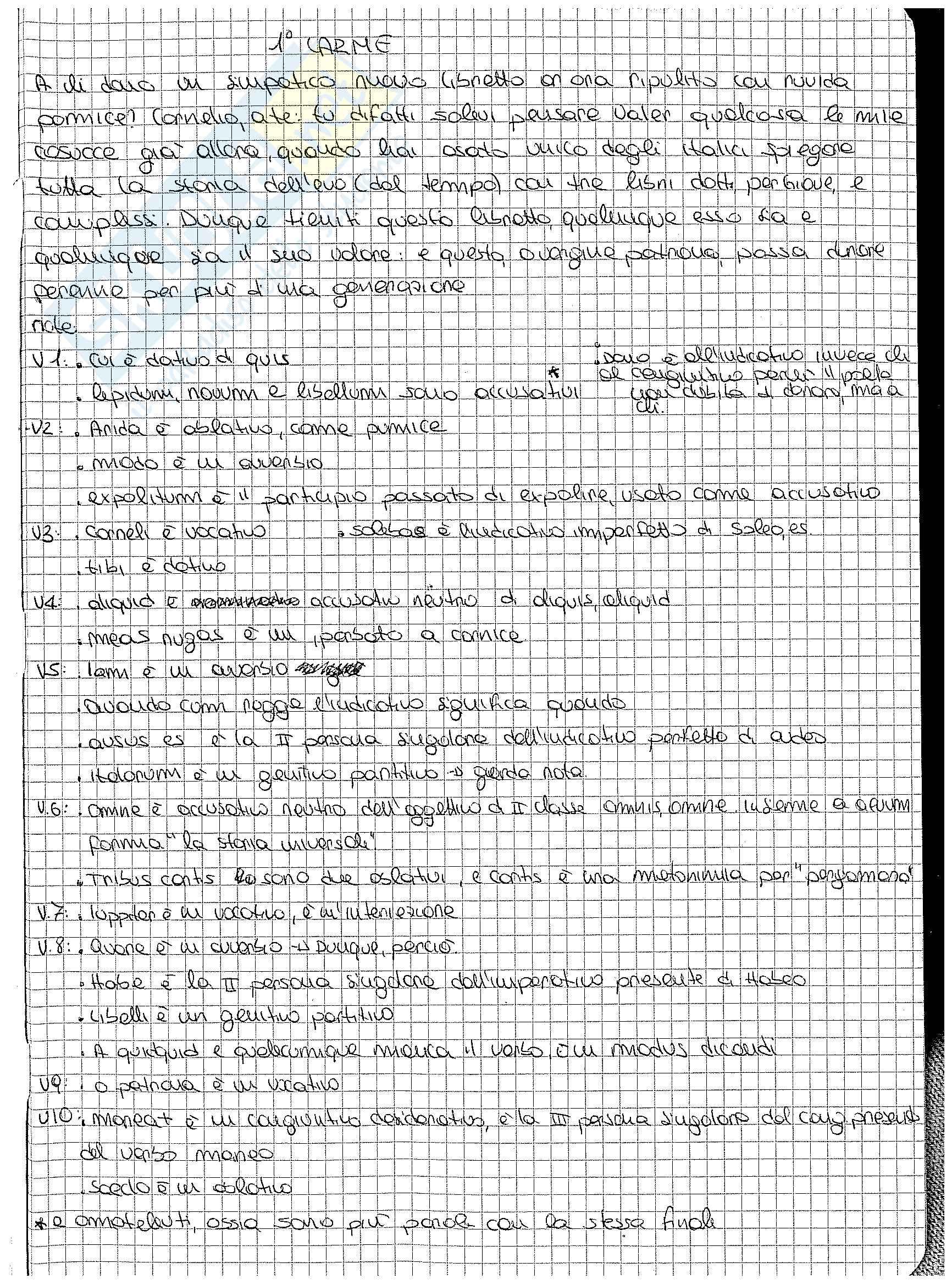 Analisi, traduzione e paradigmi dei carmina di Catullo