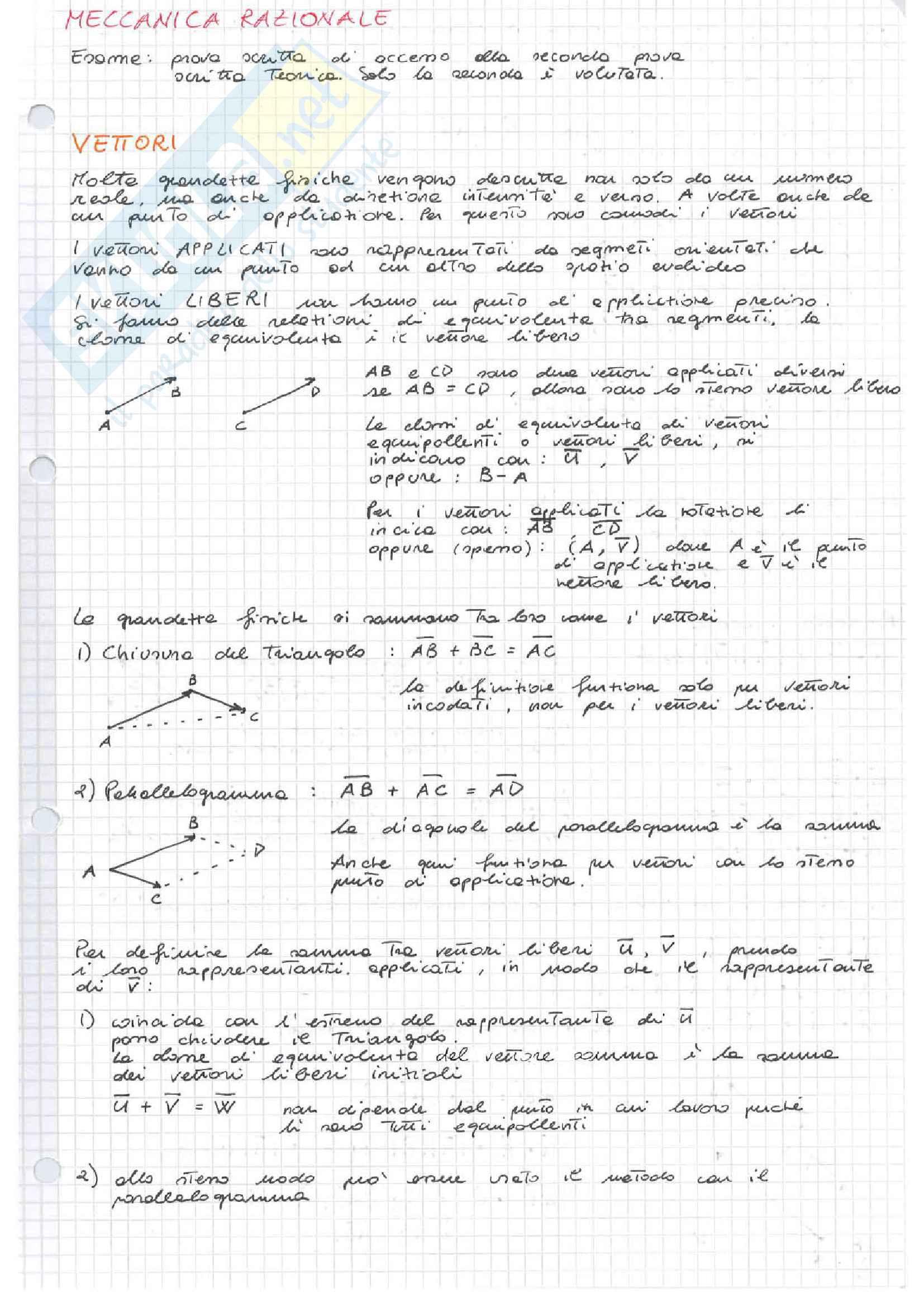 Appunti, Esercizi e Prove d'esame Meccanica Razionale