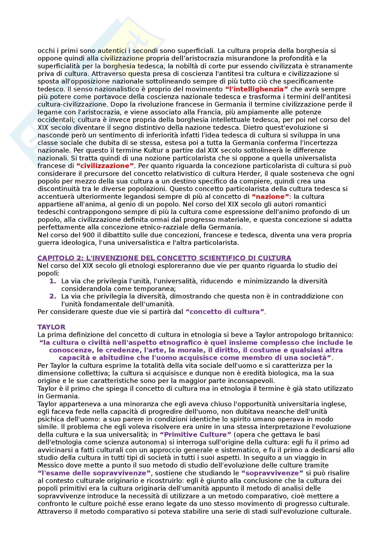 Riassunto esame Antropologia culturale, prof.Stoica, libro consigliato La nozione di cultura nelle scienze sociali, Cuche Pag. 2