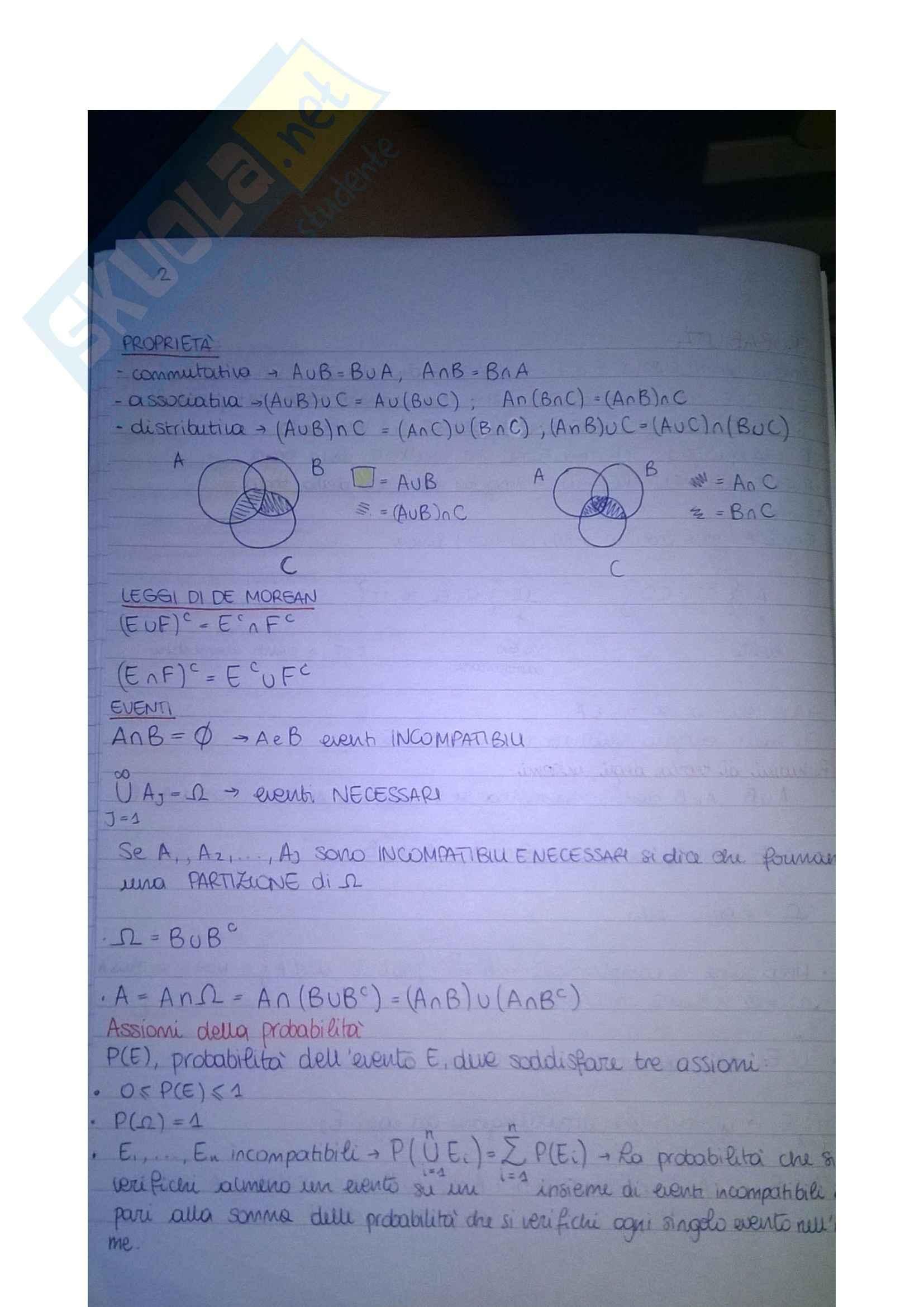 Riassunto esame Calcolo delle probabilità, prof. De Gregorio Pag. 2