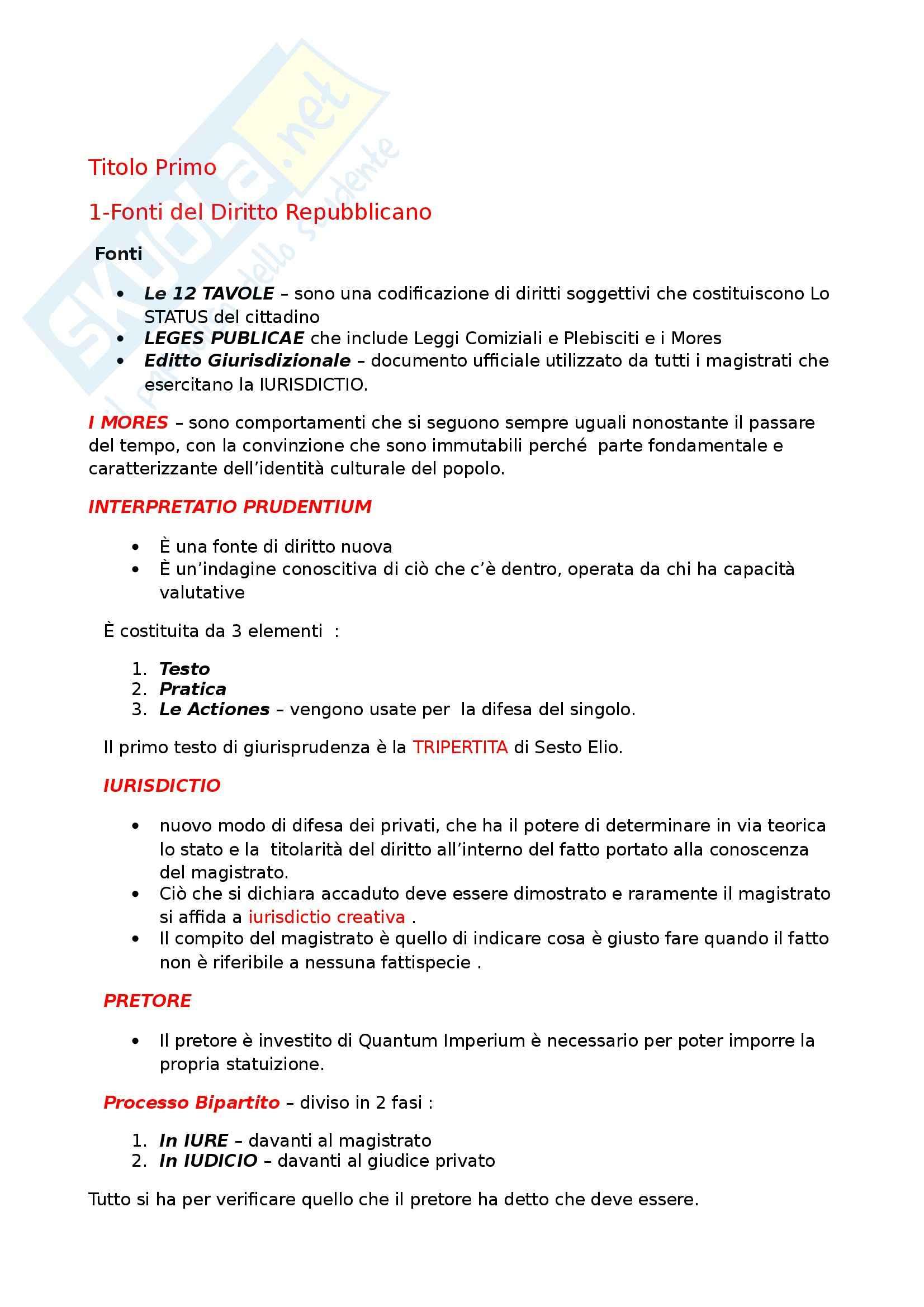 Riassunto esame Diritto Privato Romano, prof. Cuneo