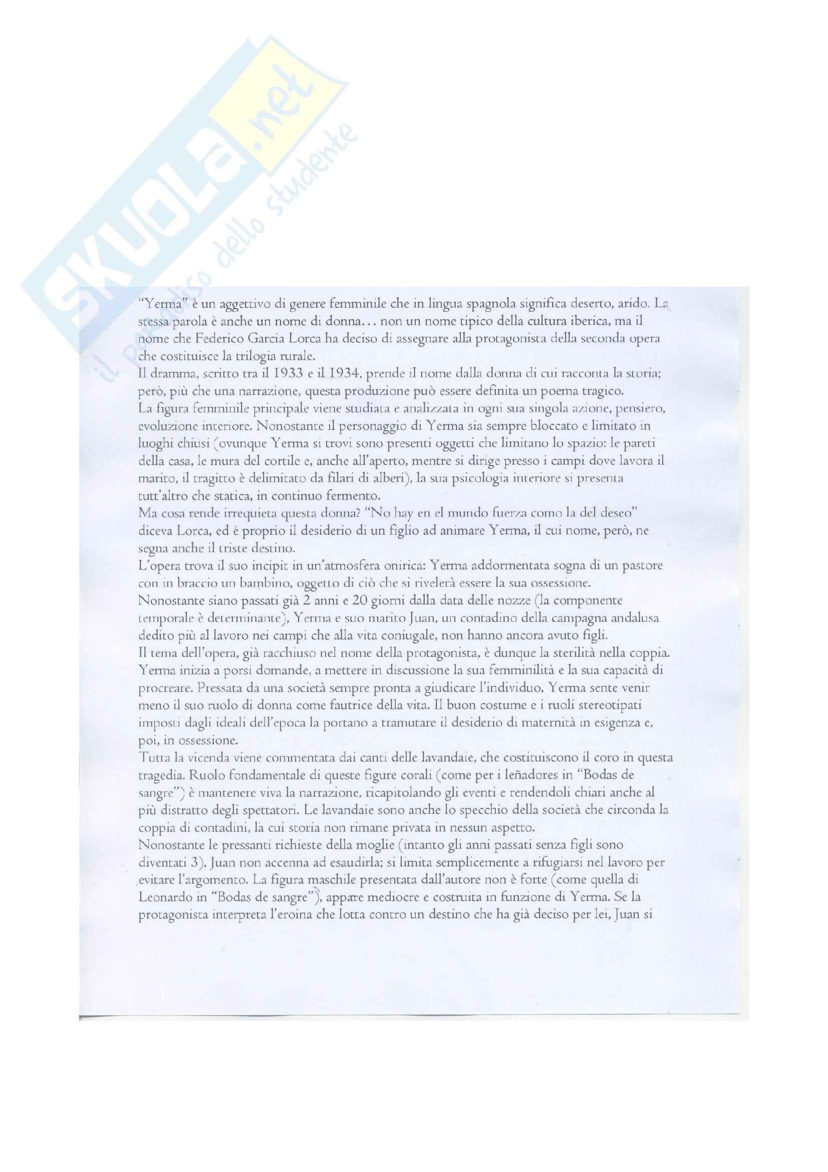 Riassunto esame Letteratura Spagnola, prof. Liano, libro consigliato Yerma, Lorca