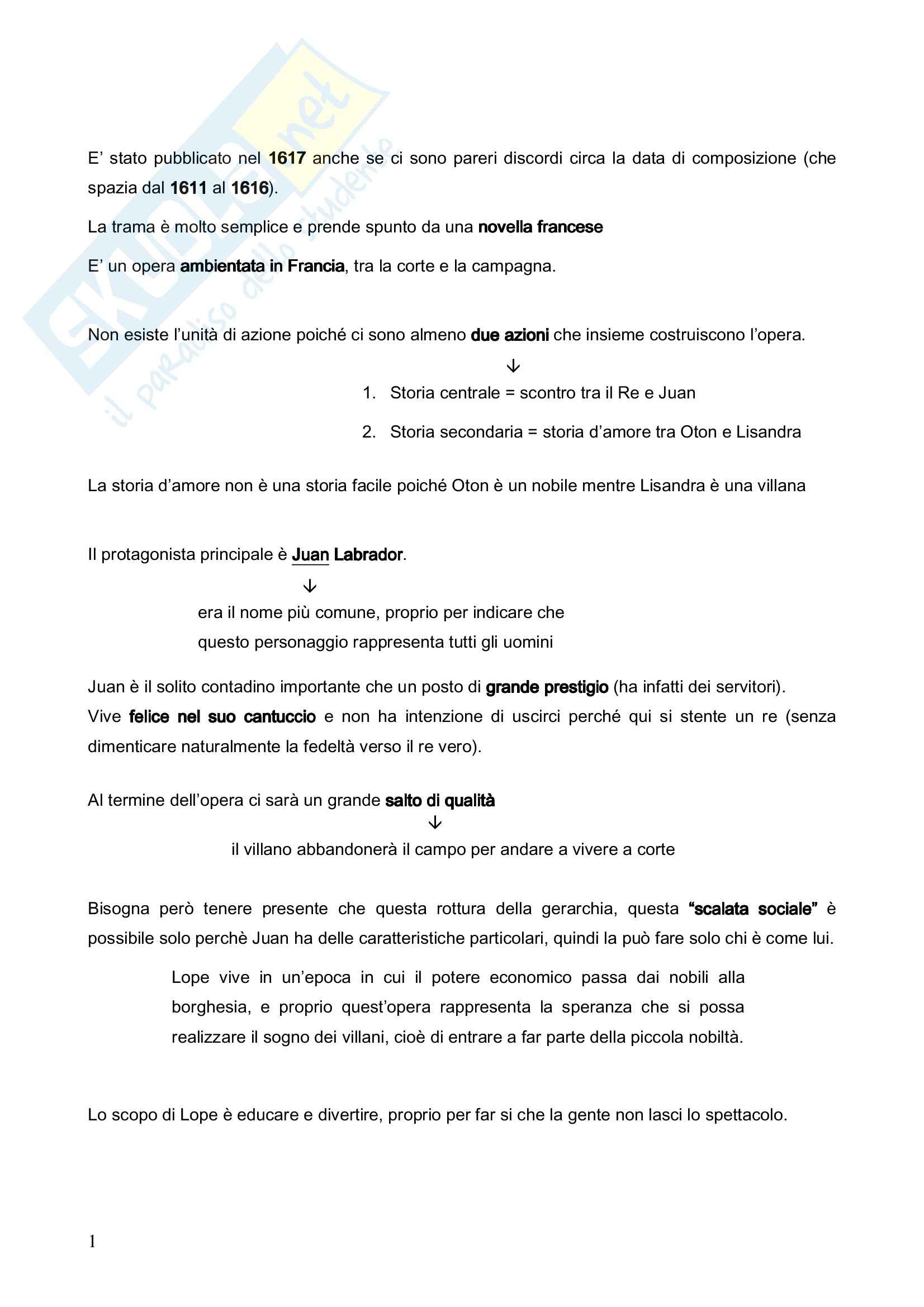 Riassunto esame Letteratura Spagnola, prof. Crippa, libro consigliato El Villano en su Rincon di De Vega