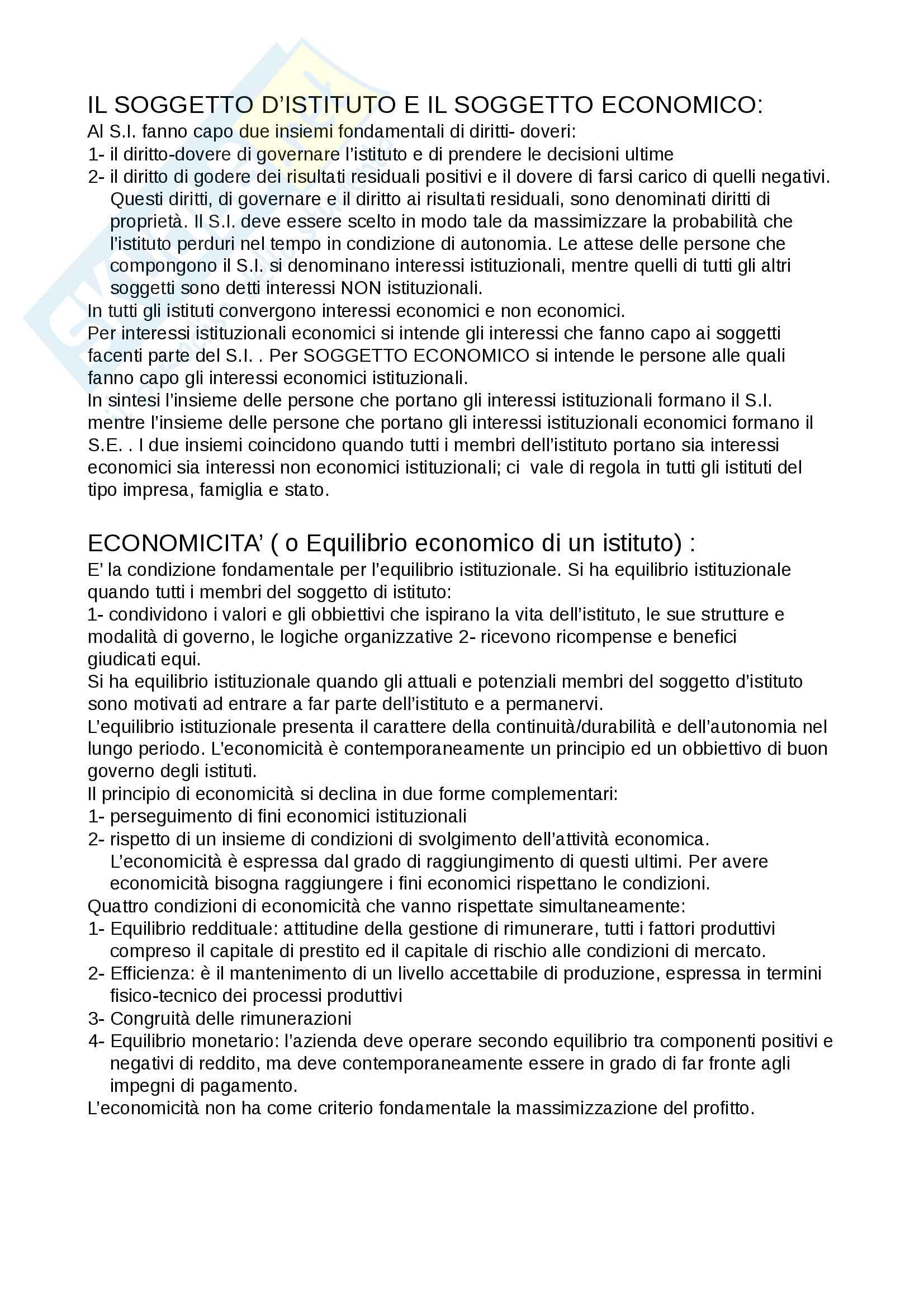 Riassunto per l'esame di Economia aziendale, prof Parolini, libro consigliato Airoldi, Brunetti Coda
