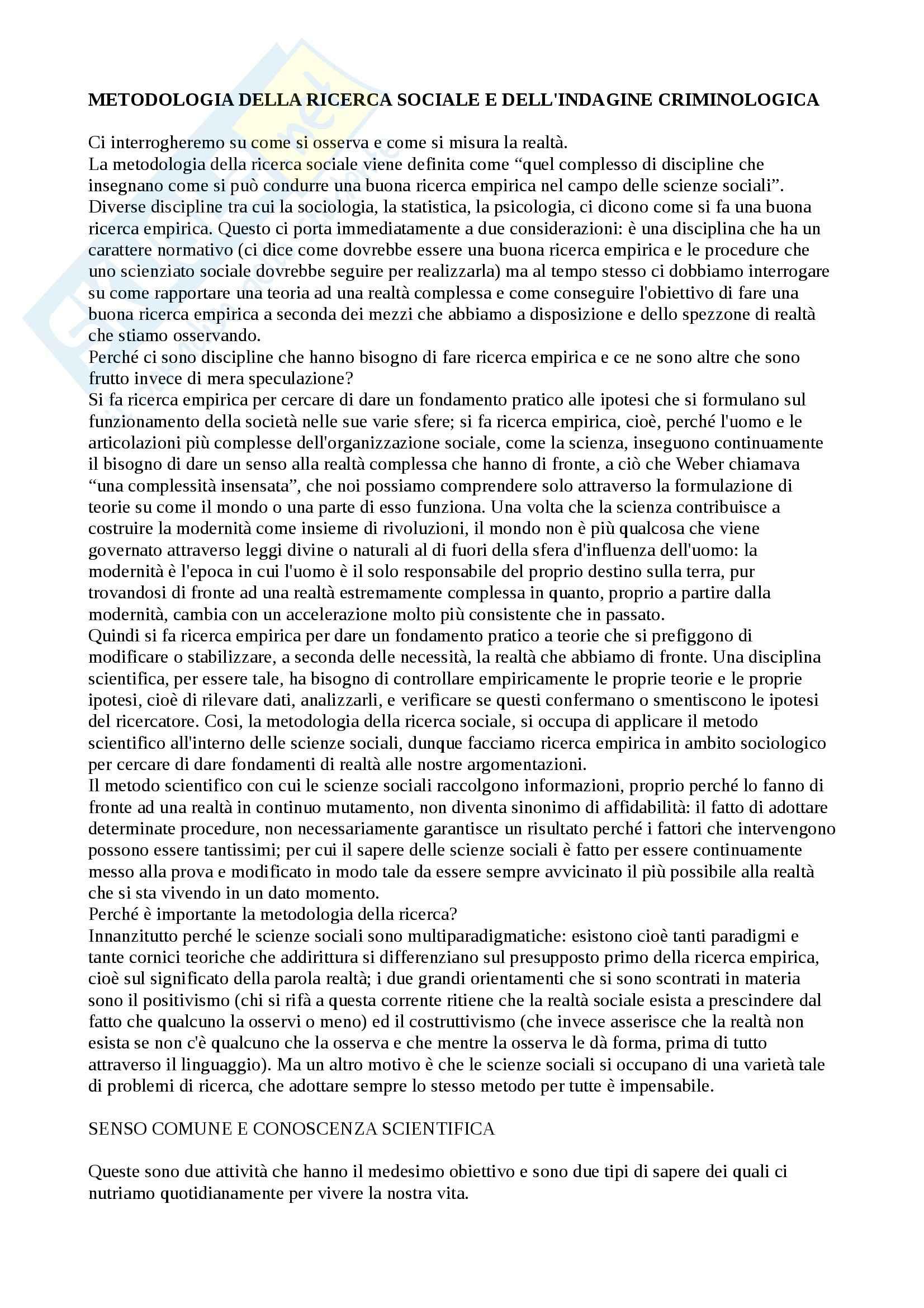 Metodologia della ricerca sociale e dell'indagine criminologica - Appunti Pag. 1