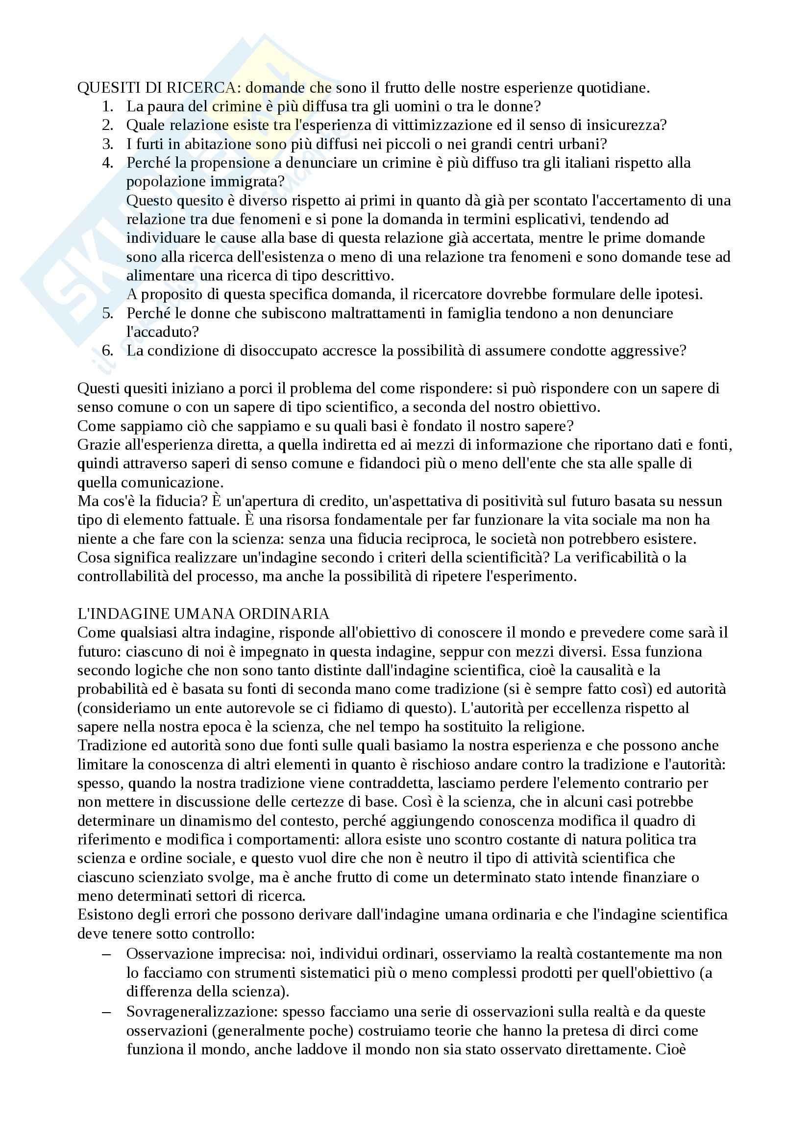 Metodologia della ricerca sociale e dell'indagine criminologica - Appunti Pag. 2