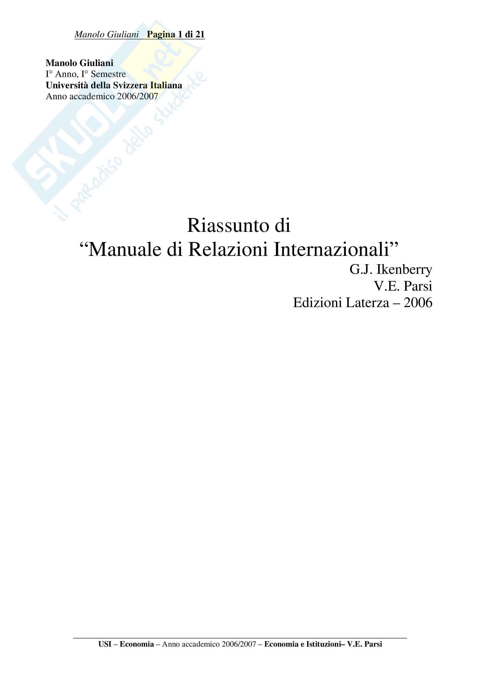 Riassunto esame Economia e Istituzioni, prof. Parsi, libro consigliato Manuale di Relazioni Internazionali