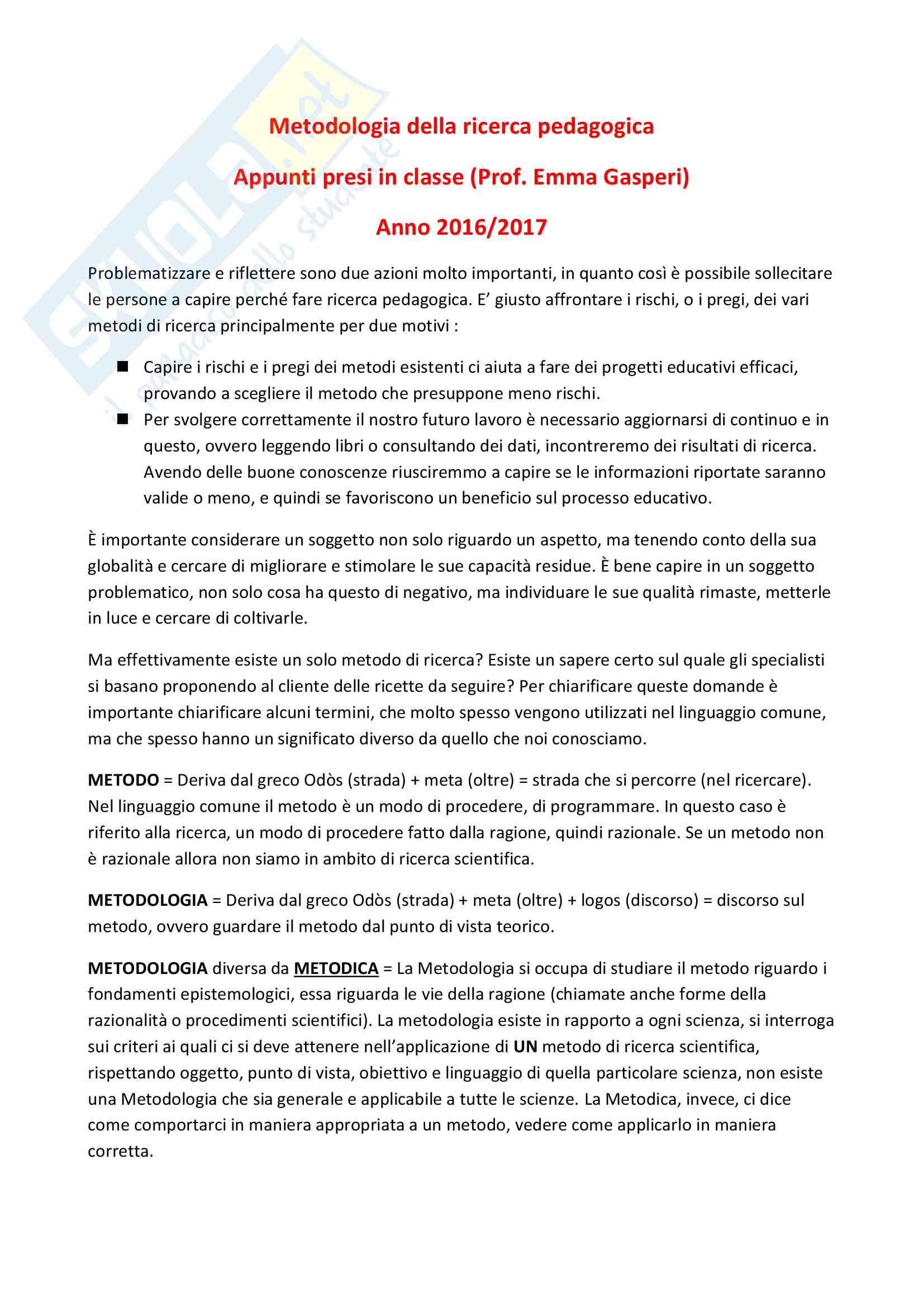 Appunti presi in Aula di Metodologia della ricerca pedagogica - prof. Emma Gasperi