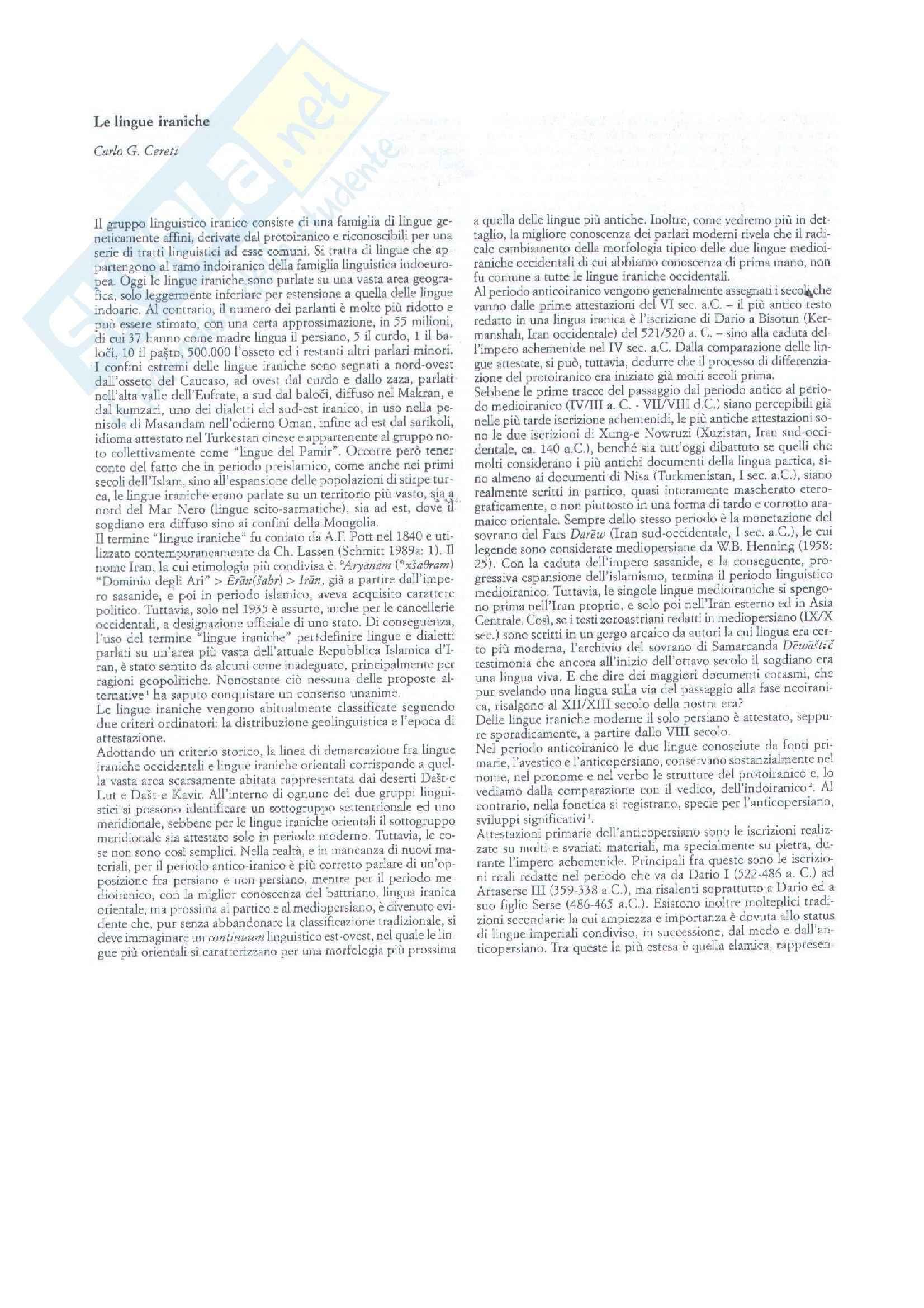 Le lingue iraniche - Appunti