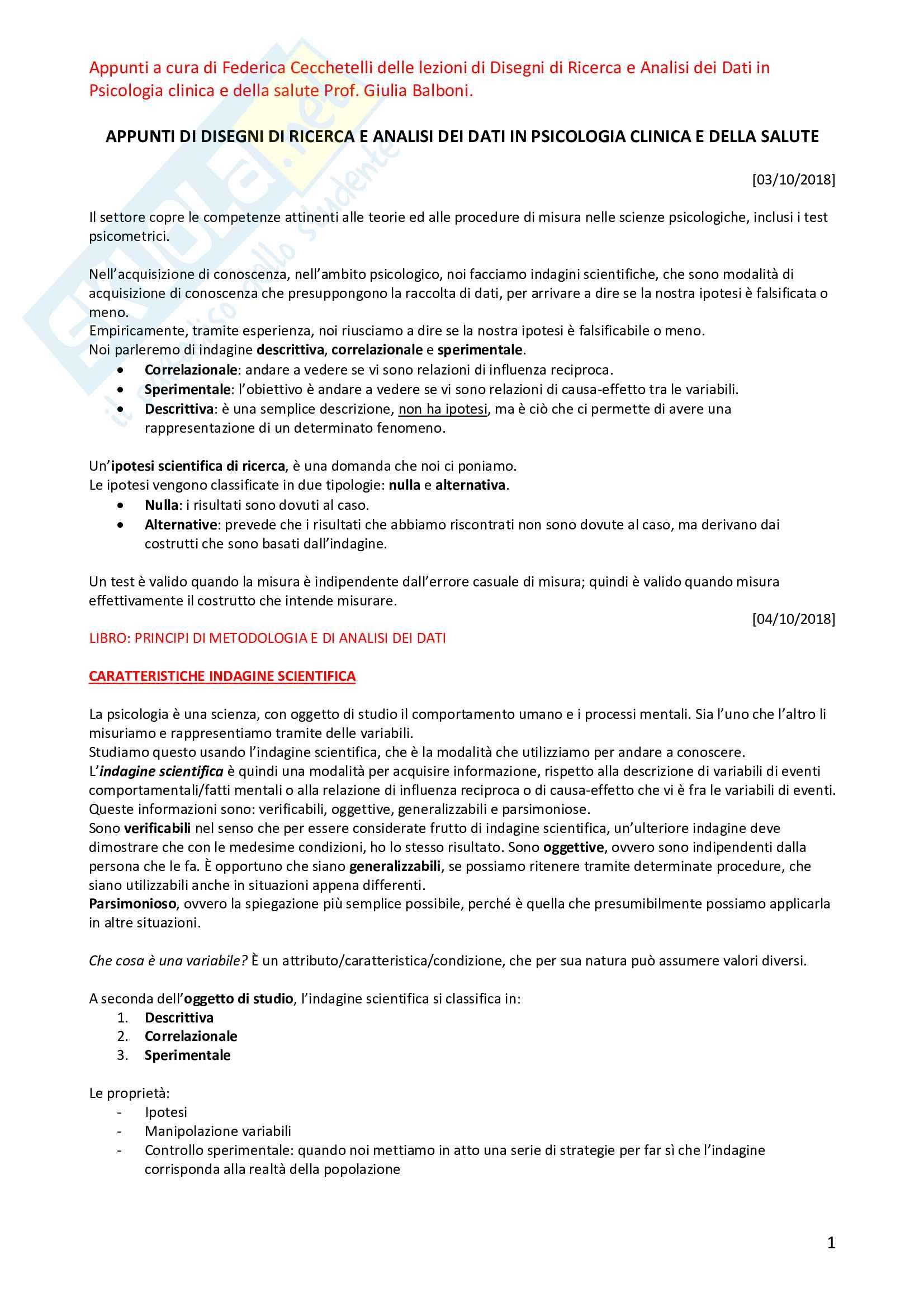 Appunti di disegni di ricerca e analisi dei dati in psicologia clinica e della salute