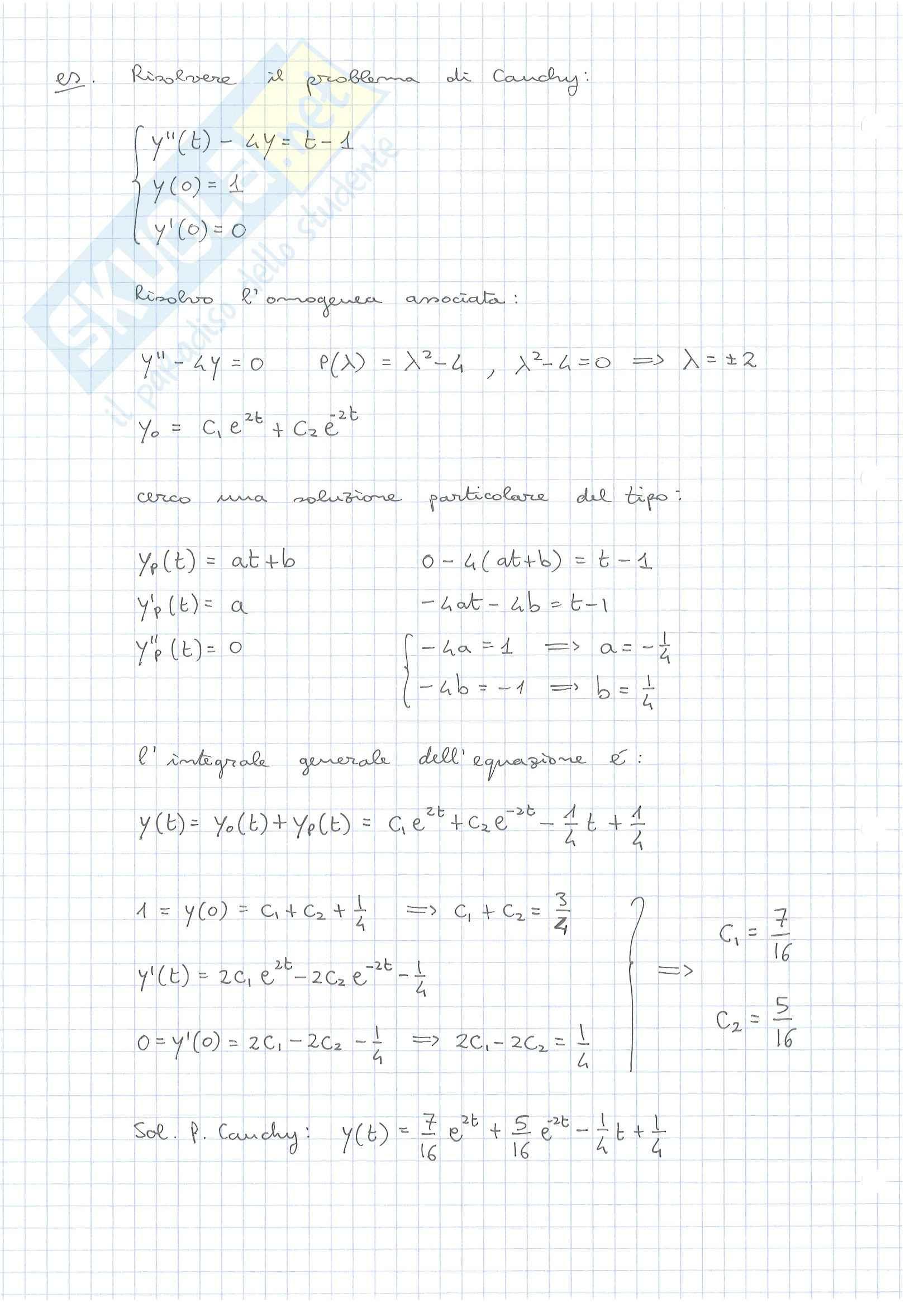 Esercizi, Equazioni Differenziali secondo ordine Pag. 2
