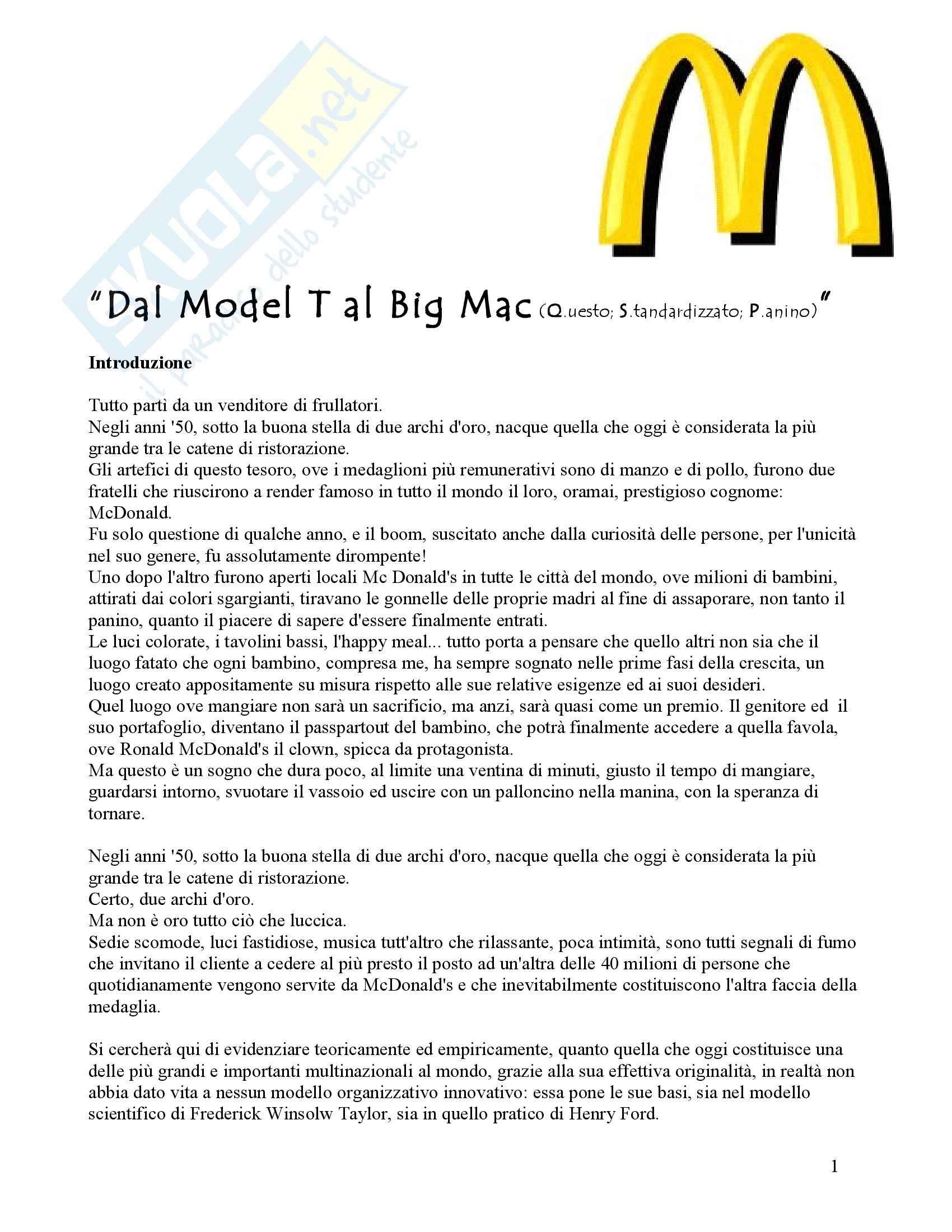 Organizzazione aziendale - storia sull'azienda Mc Donald's