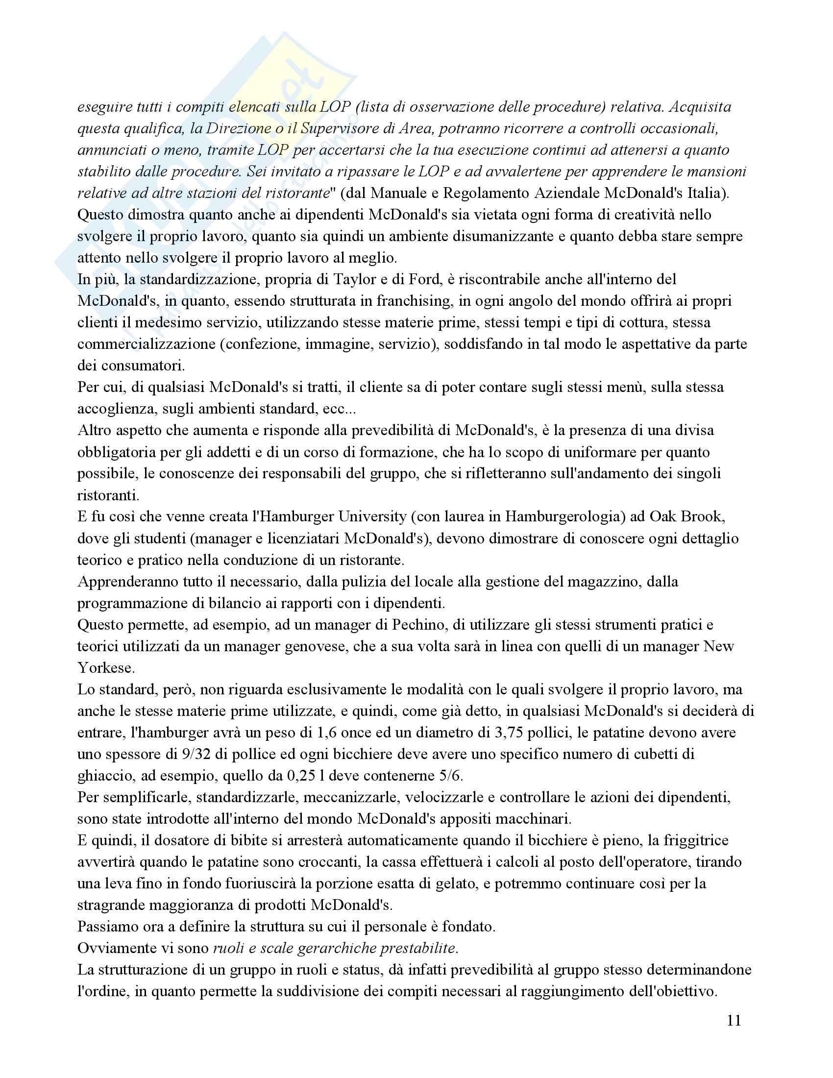 Organizzazione aziendale - storia sull'azienda Mc Donald's Pag. 11