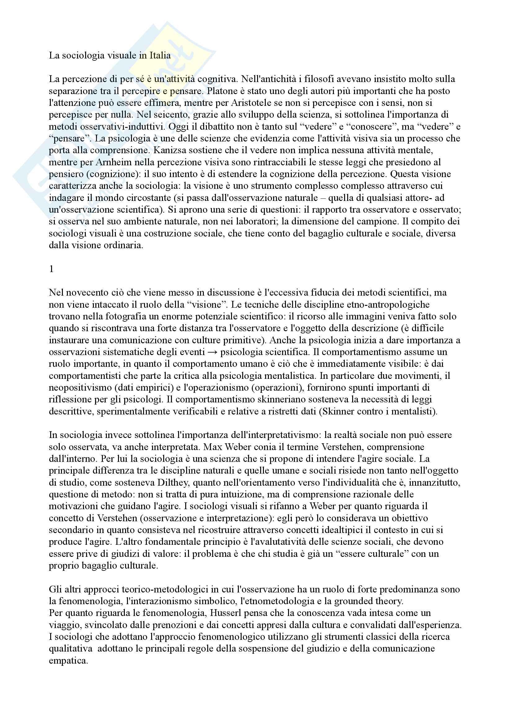 Riassunto esame ricerca sociale contemporanea, prof. Ciampi, libro consigliato La sociologia visuale in Italia. Vedere, osservare, analizzare, Ciampi