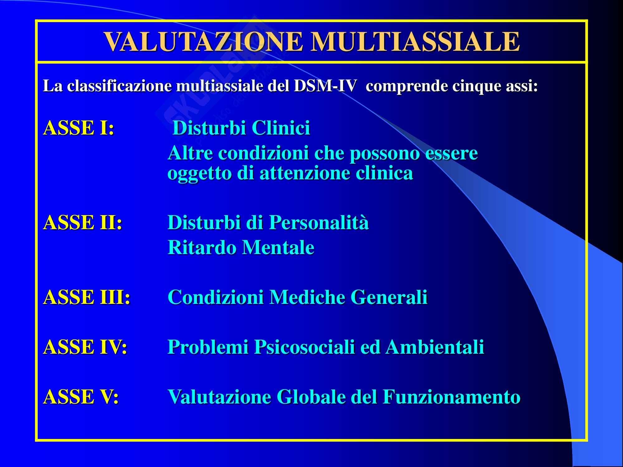 Psichiatria - classificazione DSM-IV