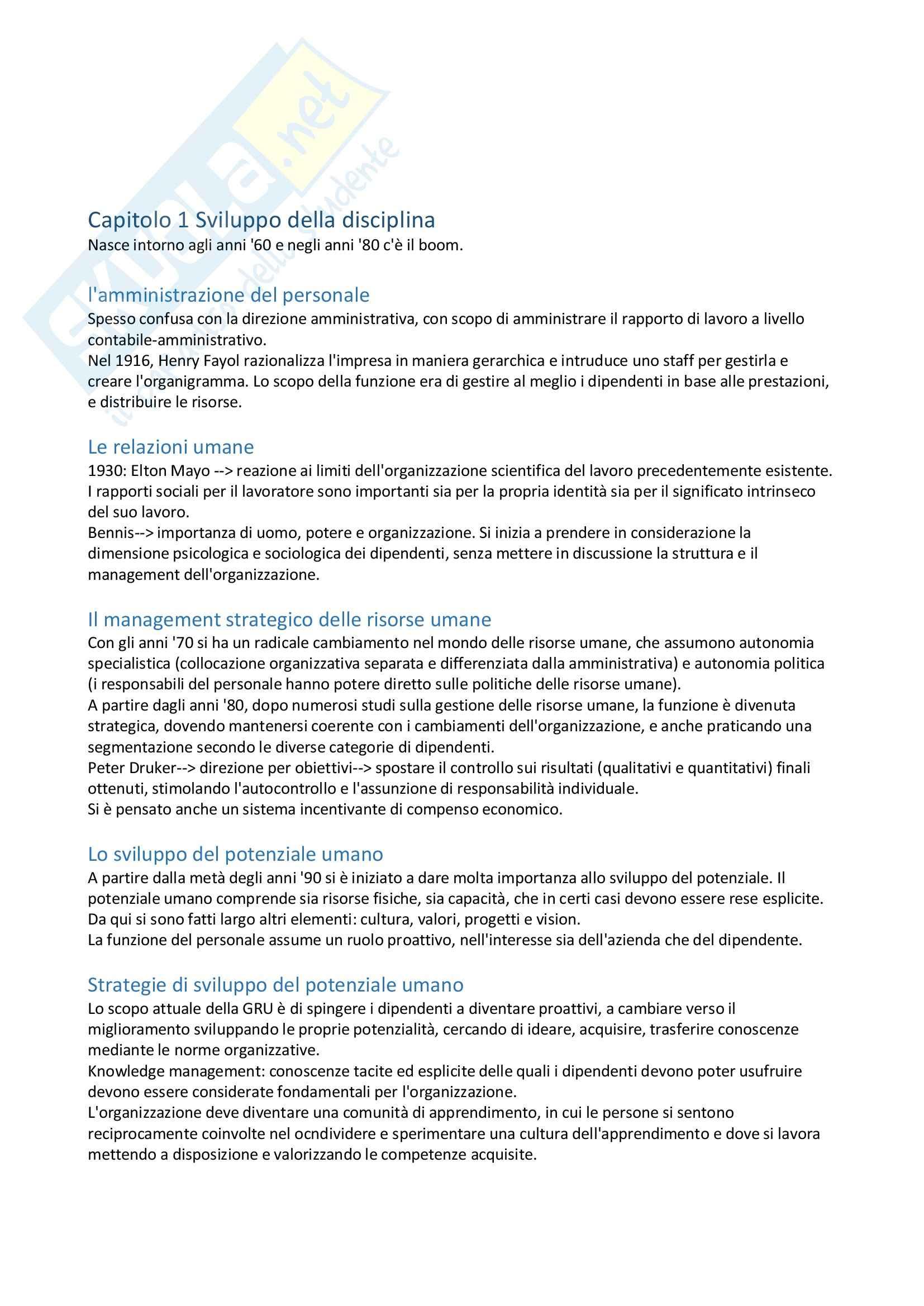 Riassunto esame Gestione delle risorse umane, prof. Dal Corso, libro consigliato Psicologia delle risorse umane, Argentero