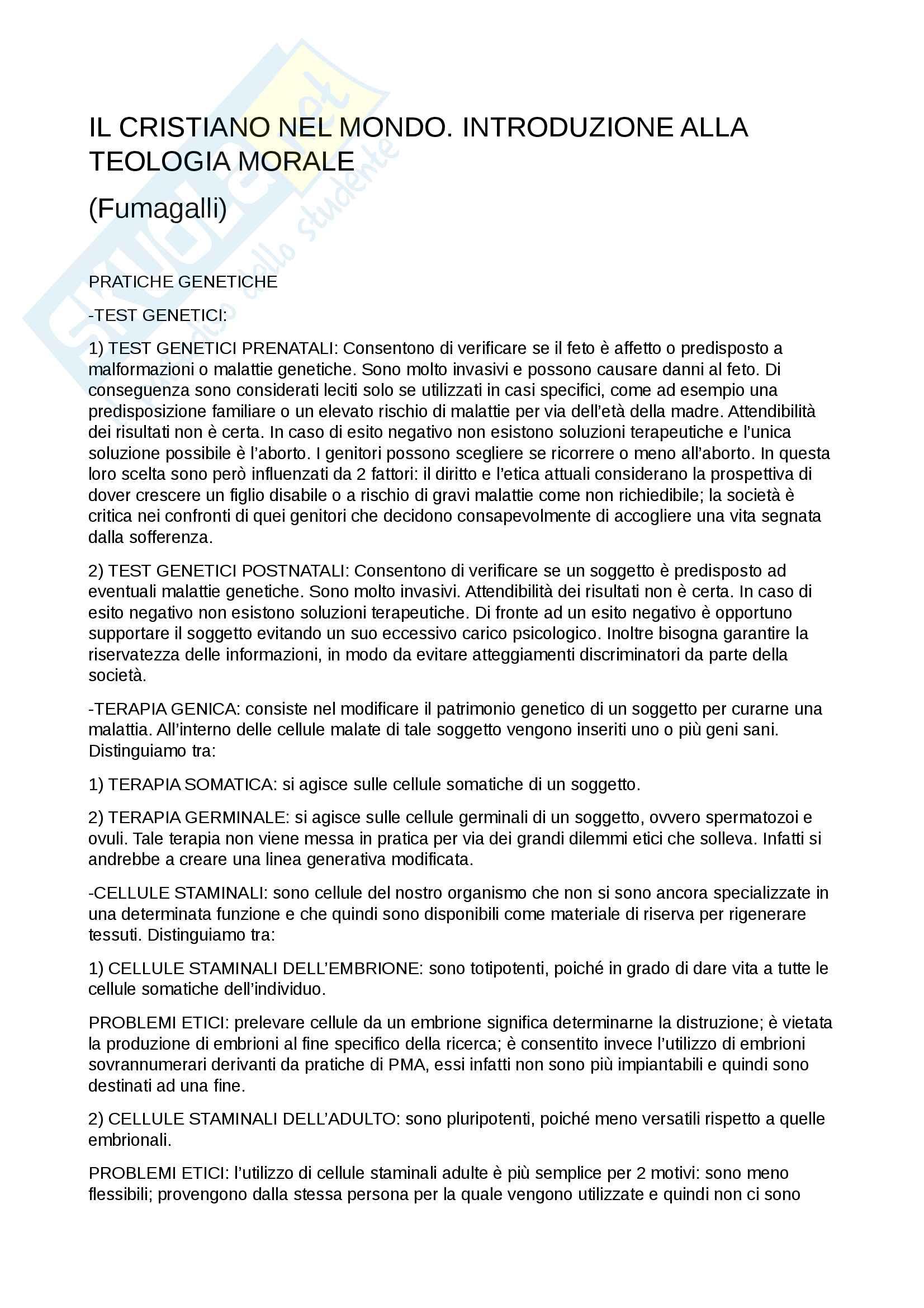 Riassunti esame Teologia III, prof. Stampino Galli, libro consigliato Il cristiano nel mondo. Introduzione alla teologia morale, 2010, A.Fumagalli