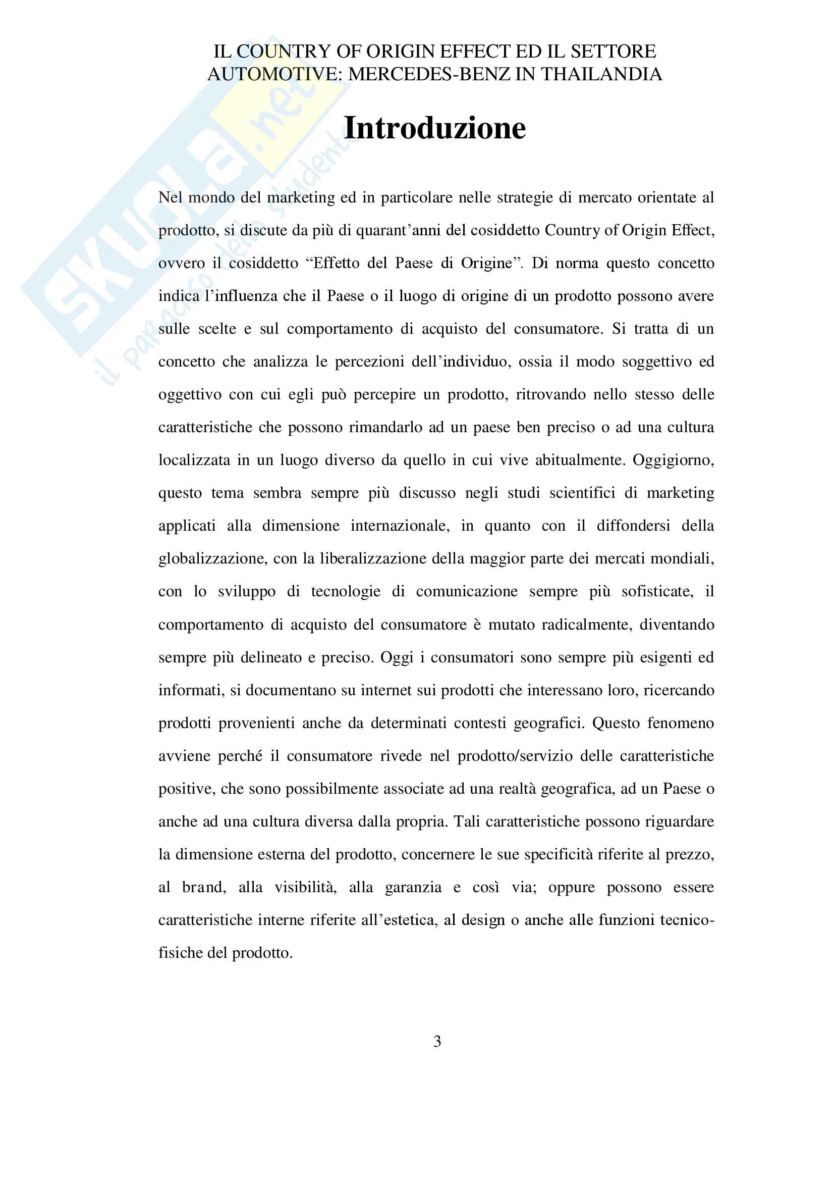 Tesina sul Country of Origin Effect Pag. 1