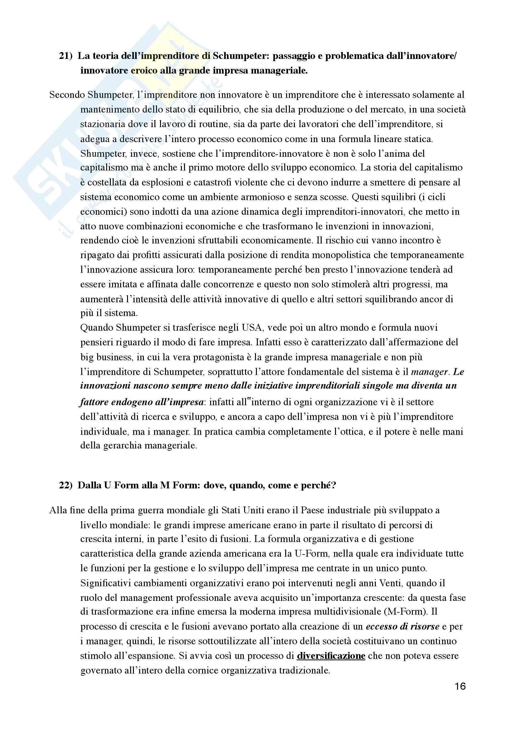 Risposte Domande Aperte - Esame storia dell'impresa e imprenditorialità Pag. 16