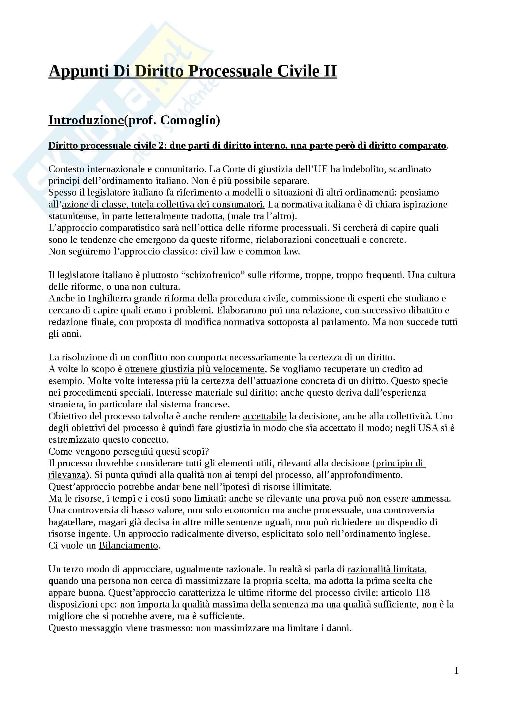 Diritto processuale civile - Appunti