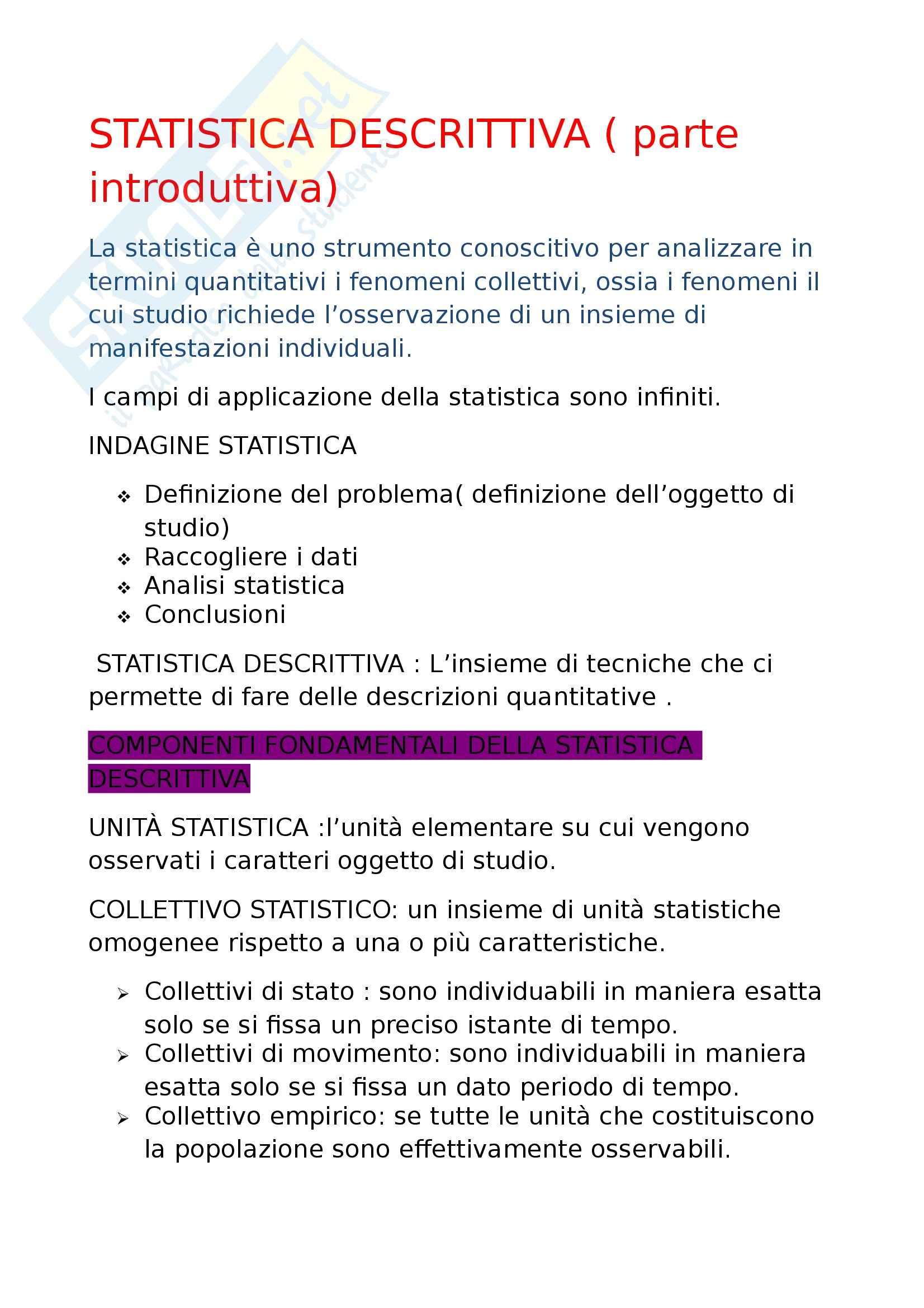 Statistica descrittiva - Appunti