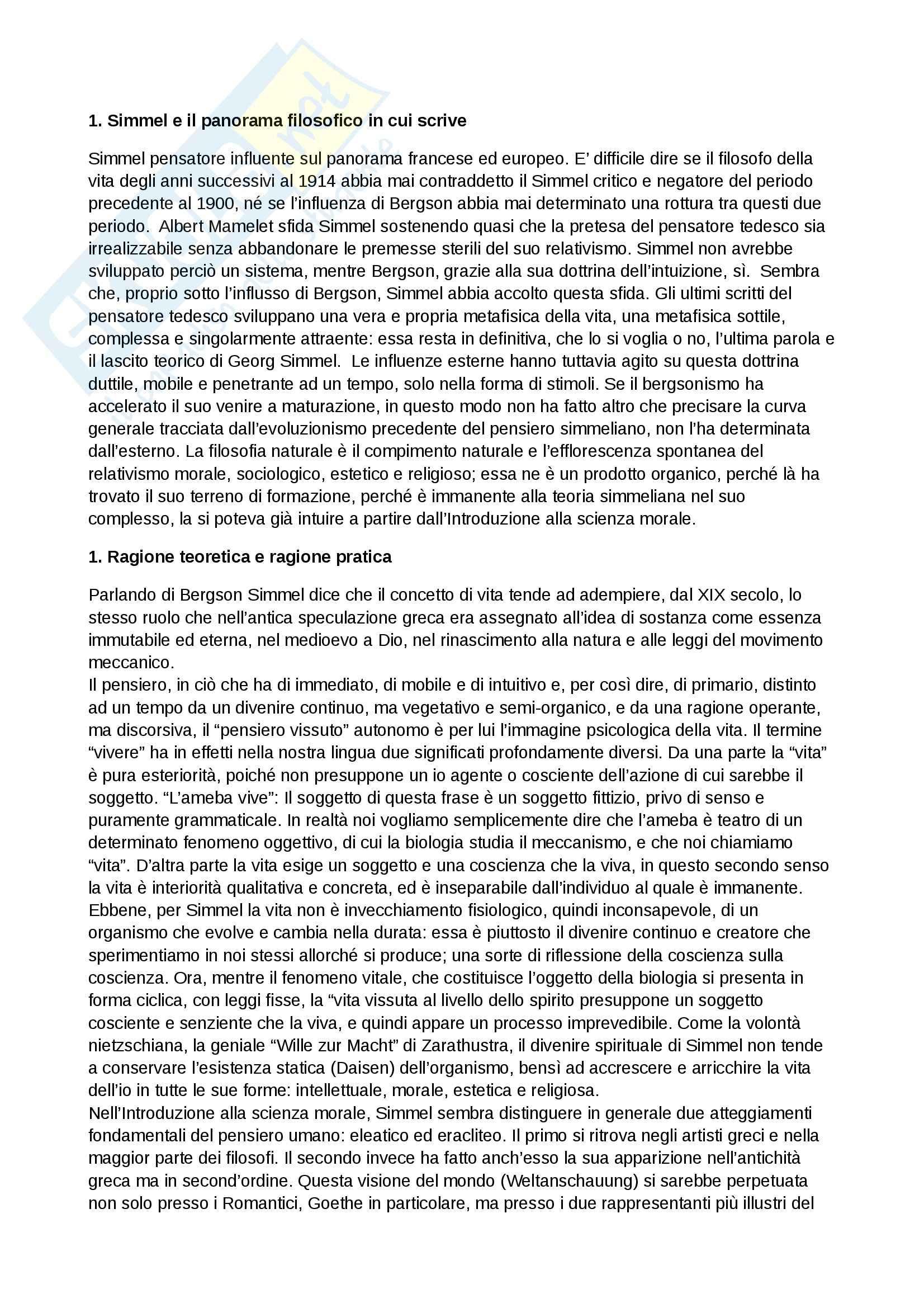 Riassunto esame Filosofia, prof. Boella, libro consigliato George Simmel filosofo della vita, Jankèlèvitch