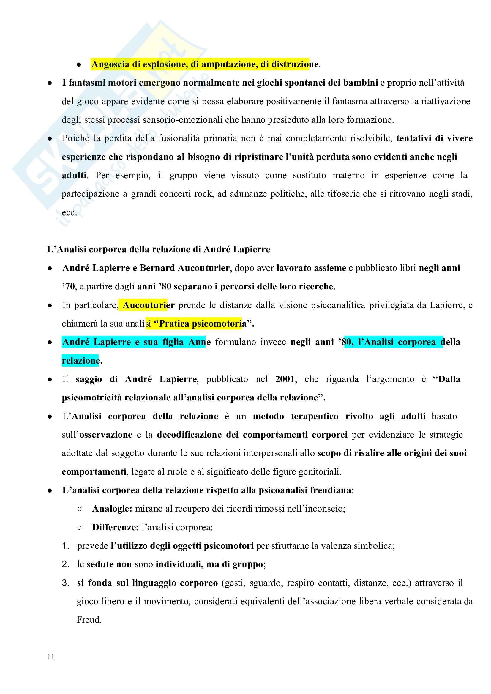 Riassunto esame Pedagogia del corpo, prof. Gamelli, libro consigliato Pedagogia del corpo Pag. 11
