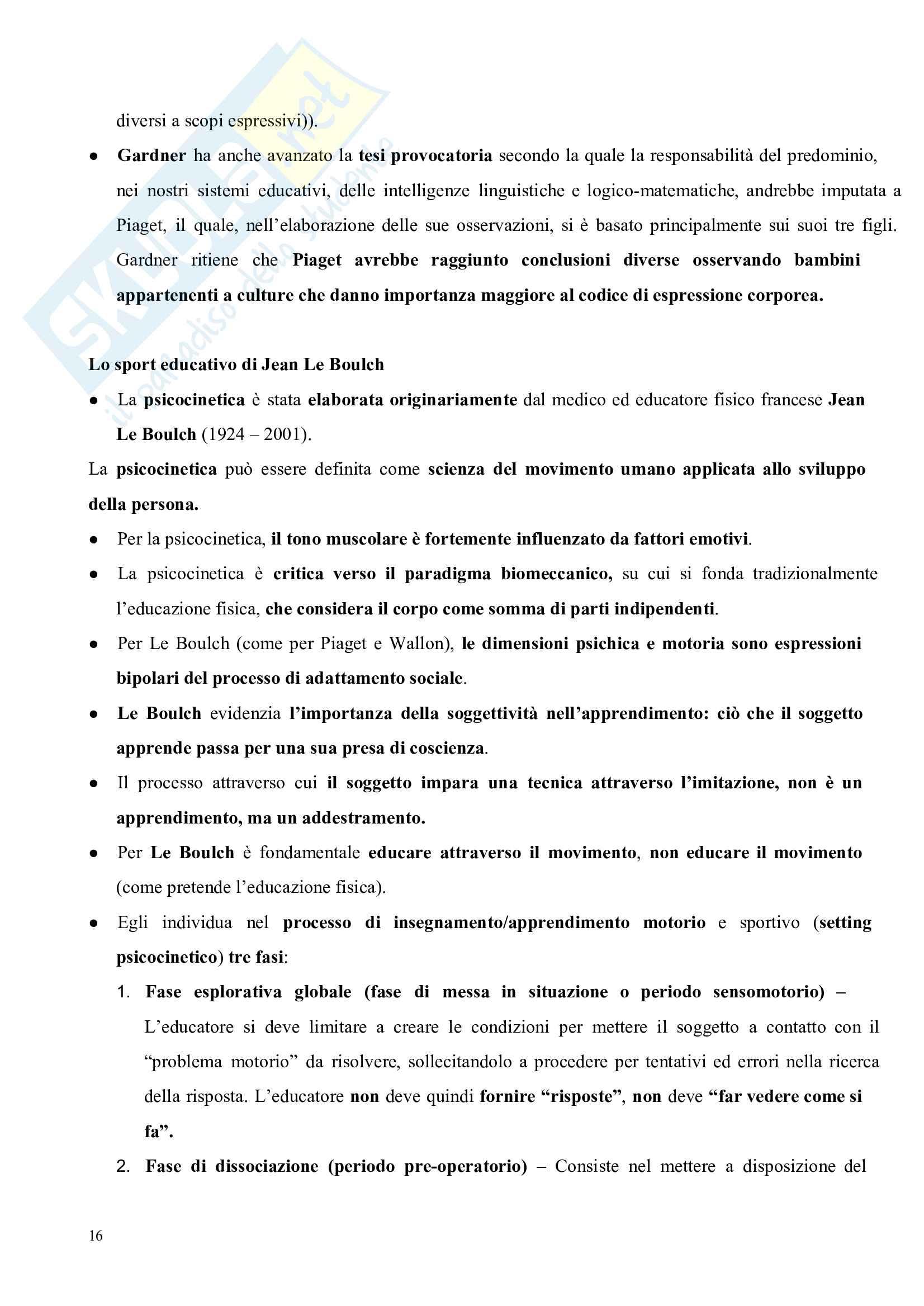 Riassunto esame Pedagogia del corpo, prof. Gamelli, libro consigliato Pedagogia del corpo Pag. 16