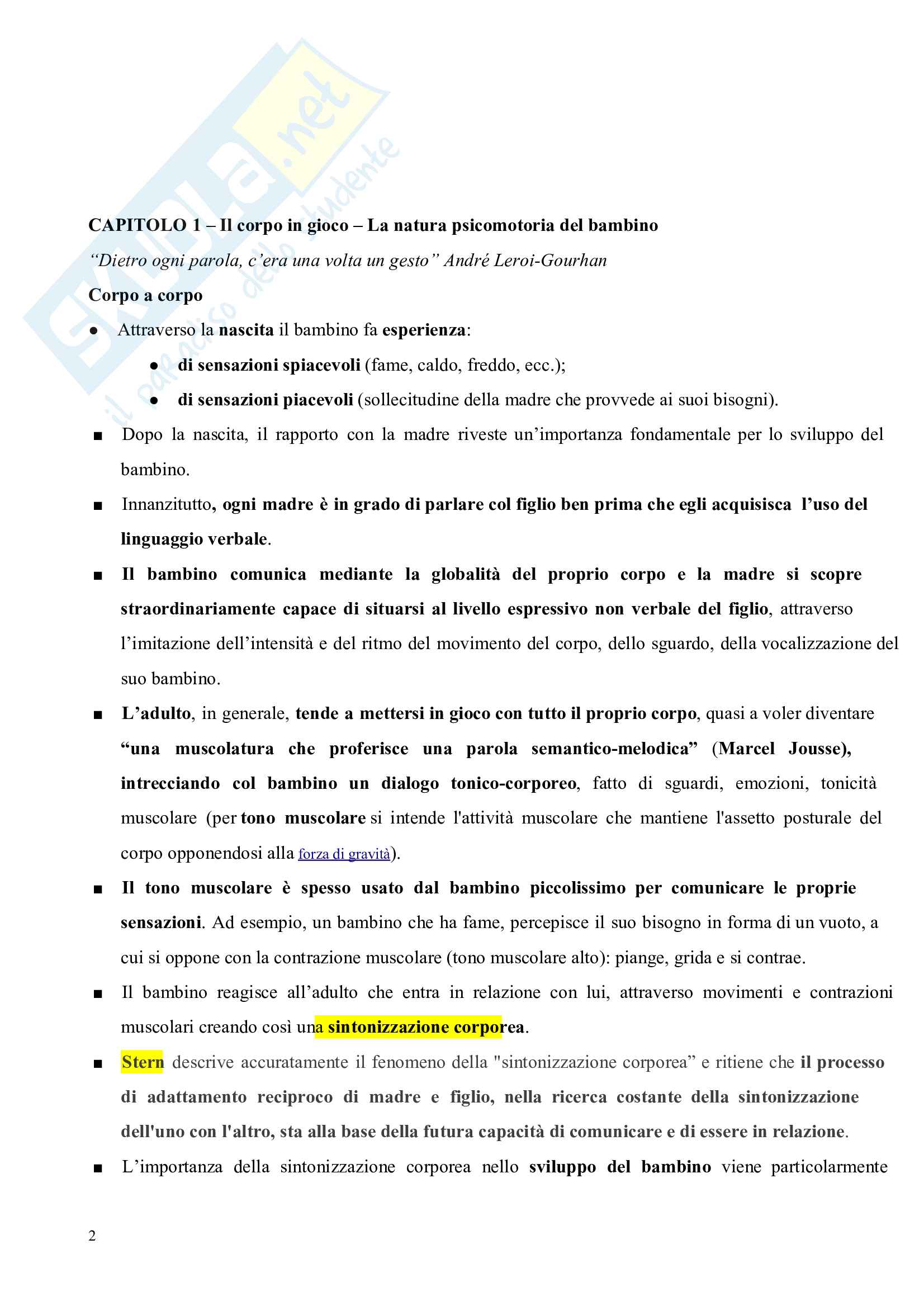 Riassunto esame Pedagogia del corpo, prof. Gamelli, libro consigliato Pedagogia del corpo Pag. 2