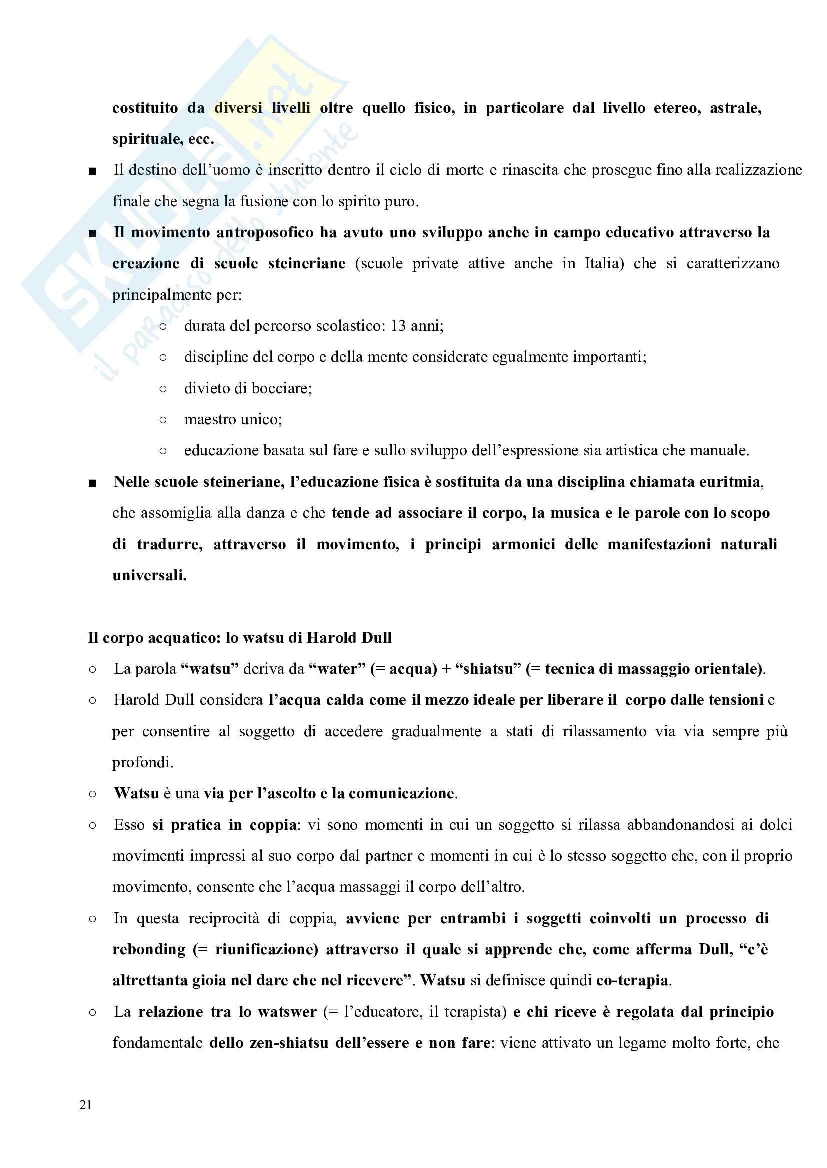 Riassunto esame Pedagogia del corpo, prof. Gamelli, libro consigliato Pedagogia del corpo Pag. 21