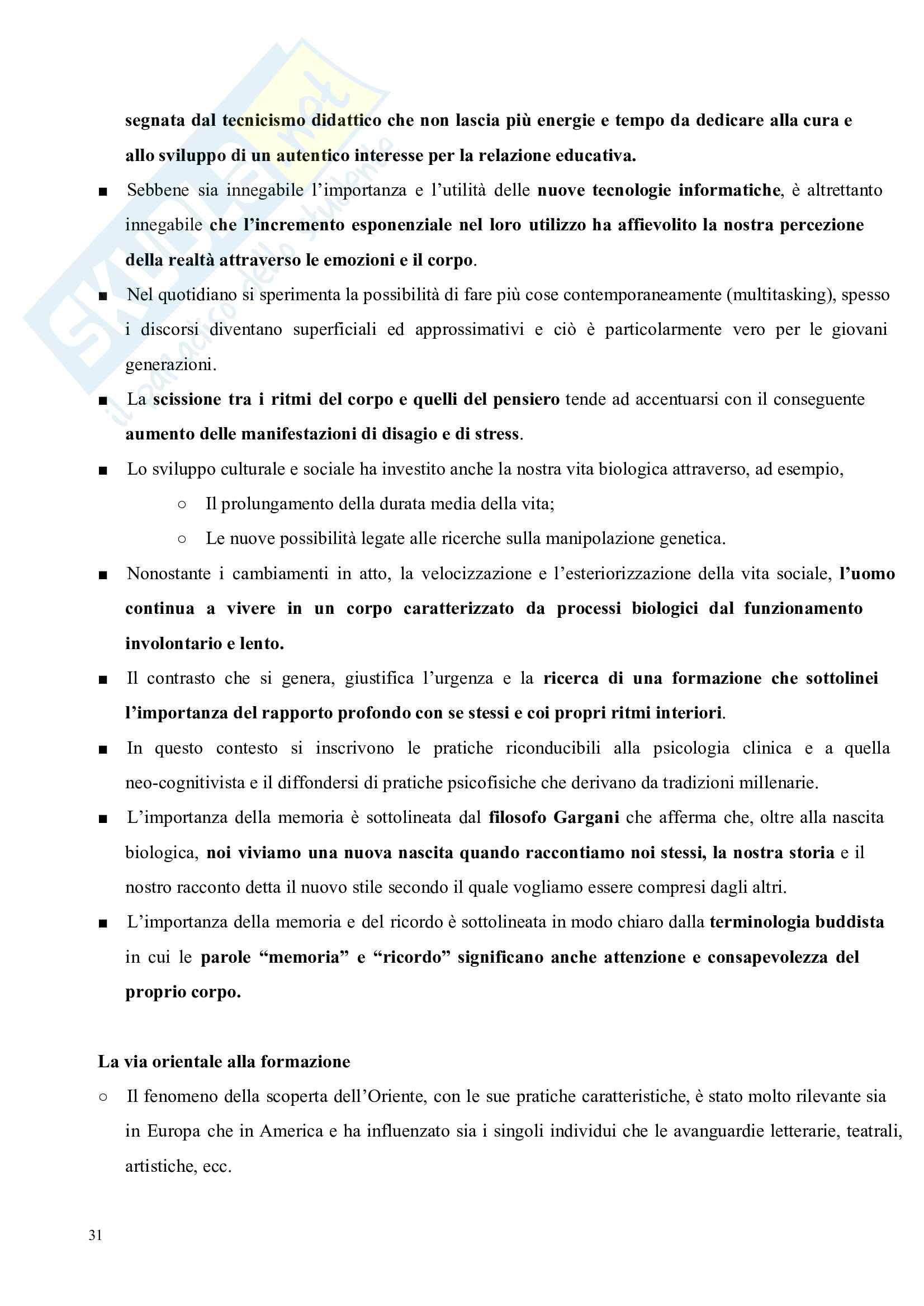 Riassunto esame Pedagogia del corpo, prof. Gamelli, libro consigliato Pedagogia del corpo Pag. 31