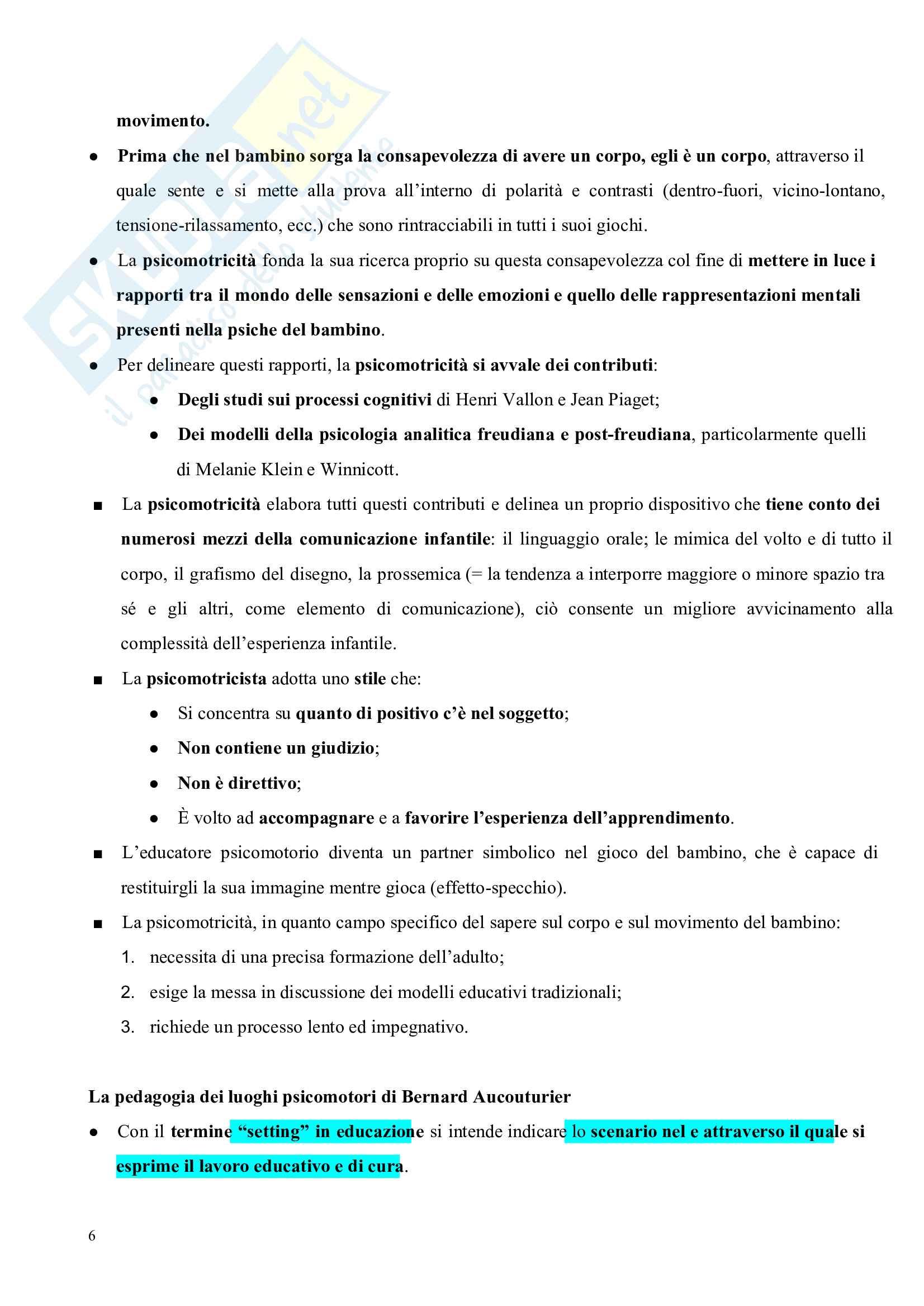 Riassunto esame Pedagogia del corpo, prof. Gamelli, libro consigliato Pedagogia del corpo Pag. 6