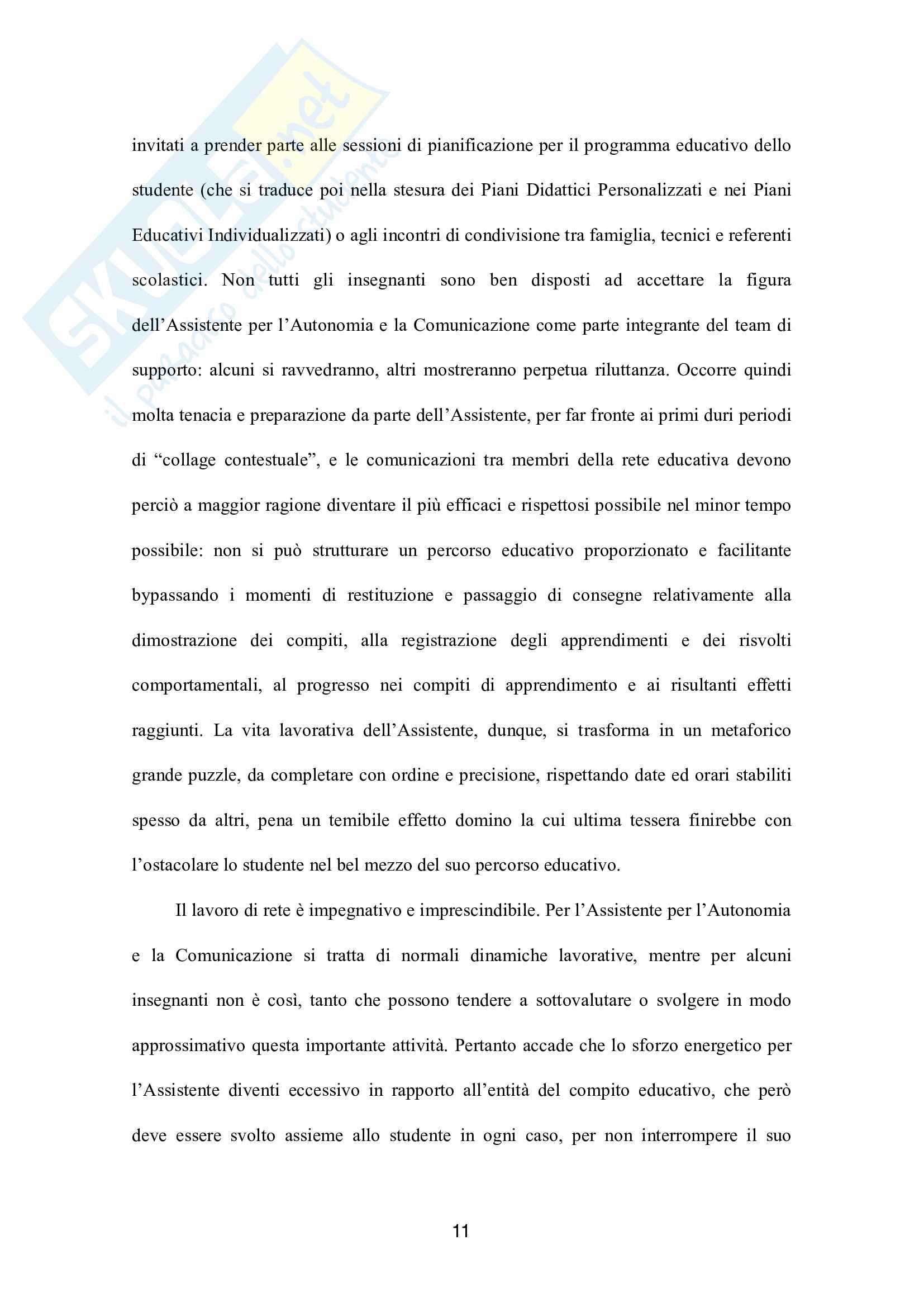 Il ruolo dell'Assistente per l'Autonomia e la Comunicazione nel processo di inclusione sociale dell'alunno disabile Pag. 11
