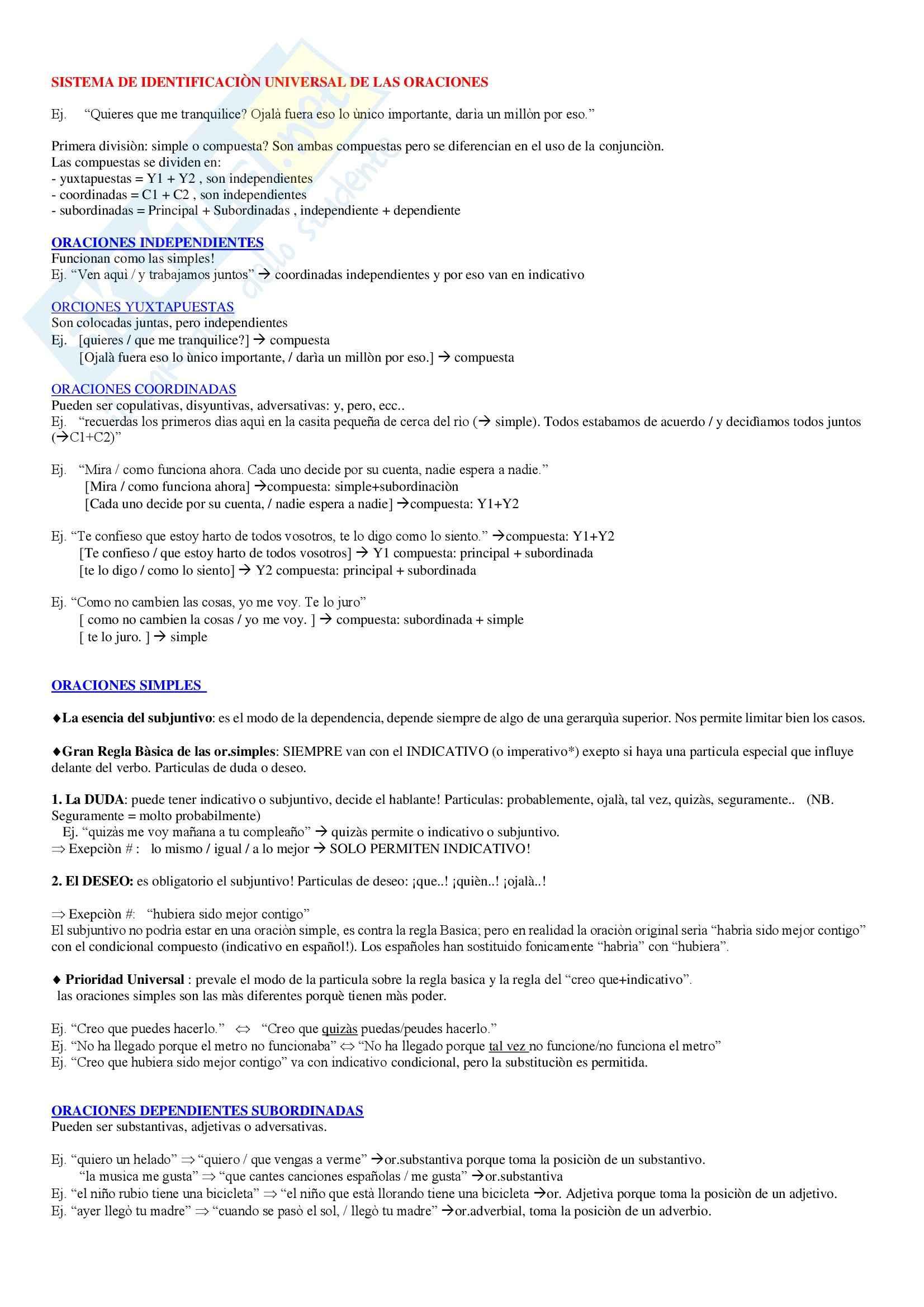 Lingua spagnola - Sistema de identificaciòn universal de las oraciones