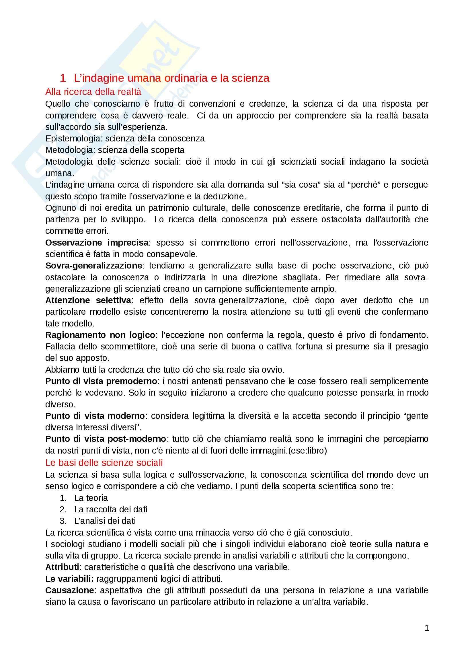Riassunto esame Metodologia e tecnica della ricerca sociale, prof. Di Fraia, libro consigliato Ricerca sociale, Babbie
