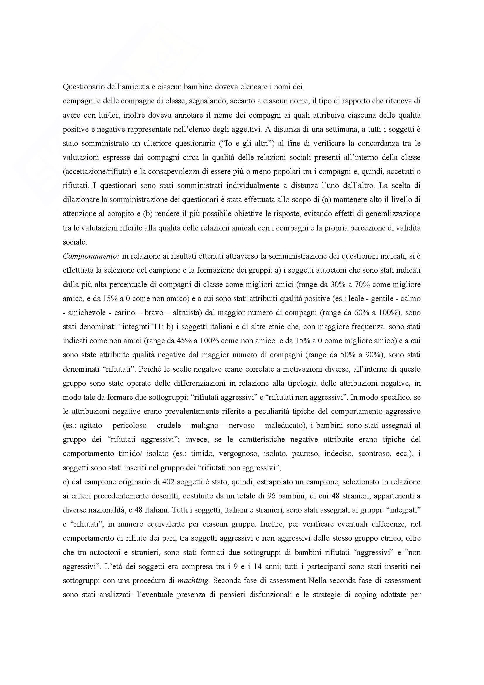 Riassunto esame Pedagogia Clinica, prof. Bagnato, libro consigliato Il Rifiuto tra Coetanei Pag. 31