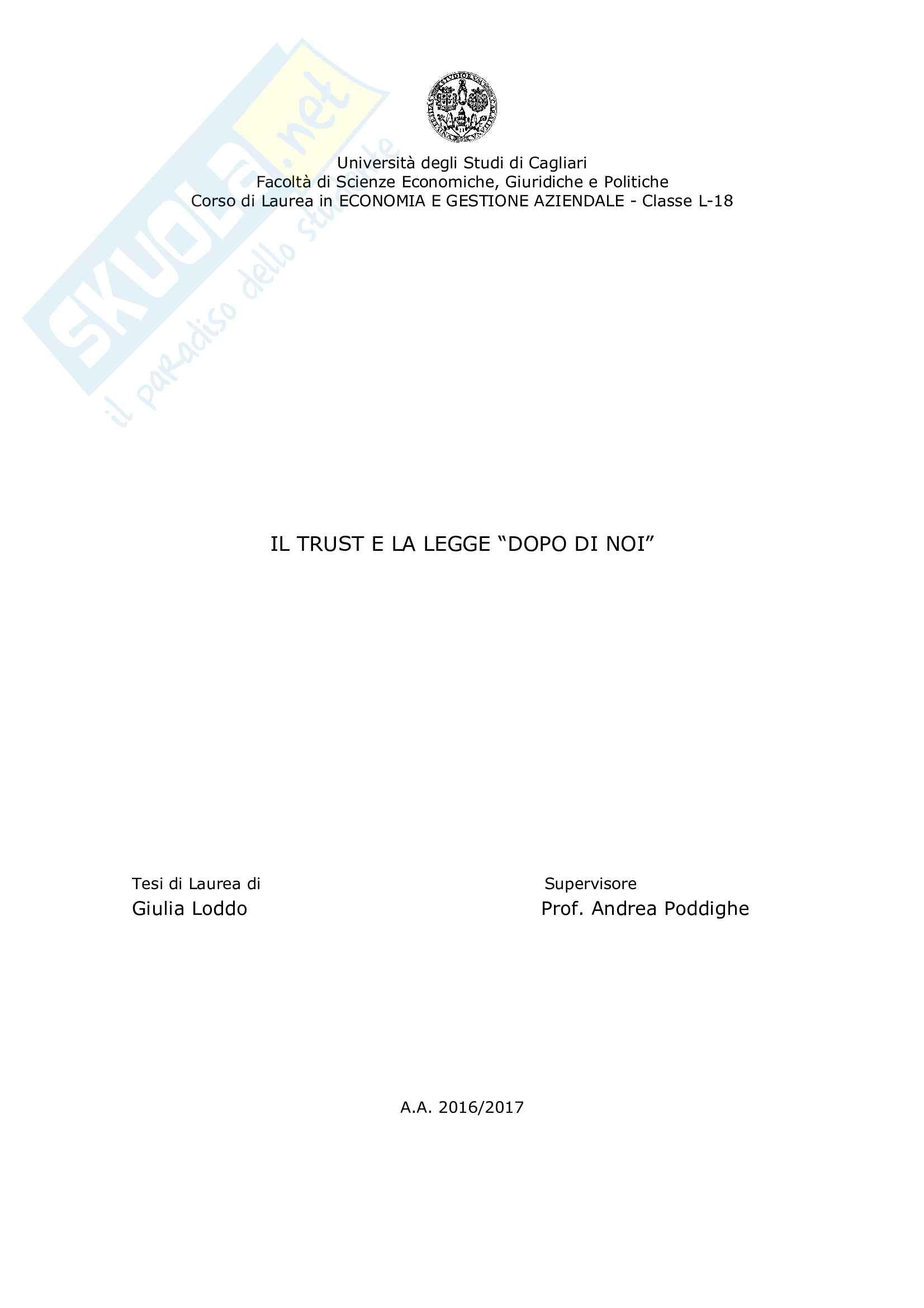 """Tesi di laurea """"Il Trust e la Legge Dopo di Noi"""", Prof. Poddighe, di Giulia Loddo"""