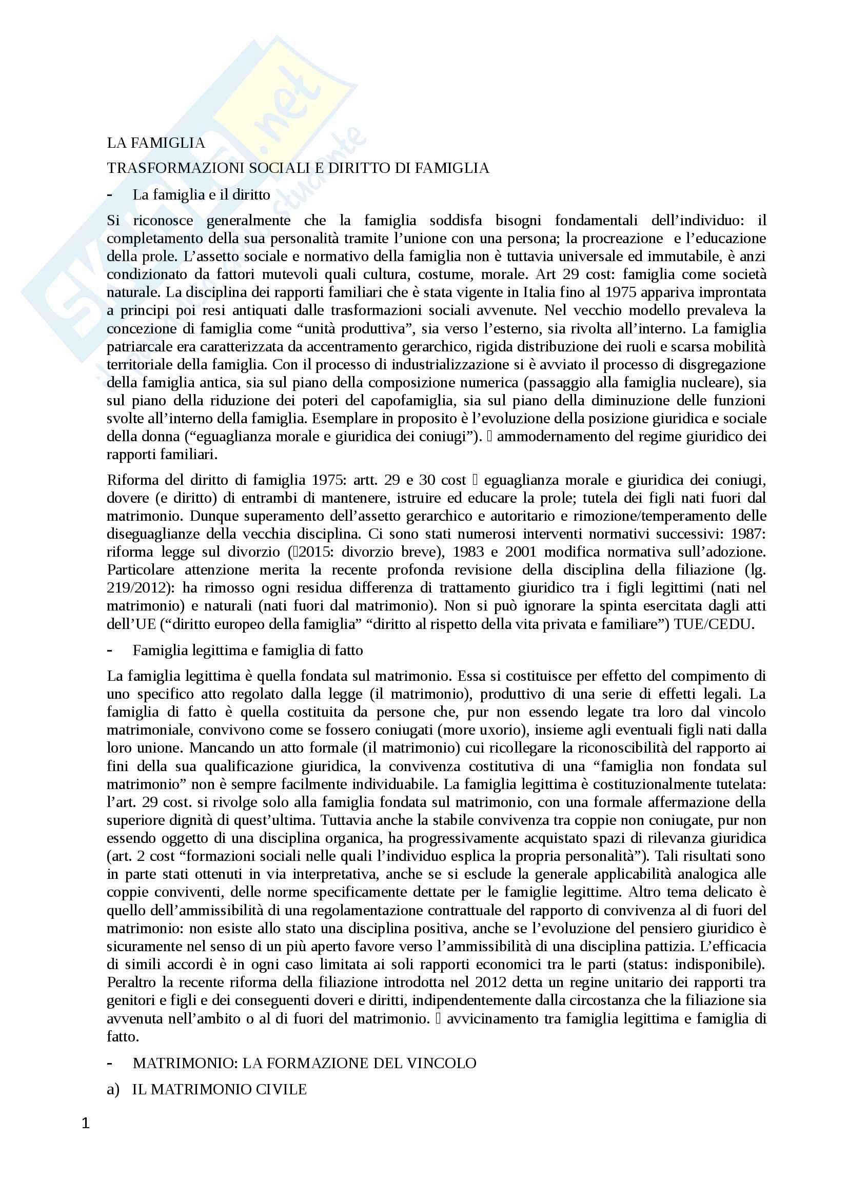 Riassunto esame Diritto privato, prof. Corbo, libro consigliato Famiglia e successione: le forme di circolazione della ricchezza familiare, Bellisario