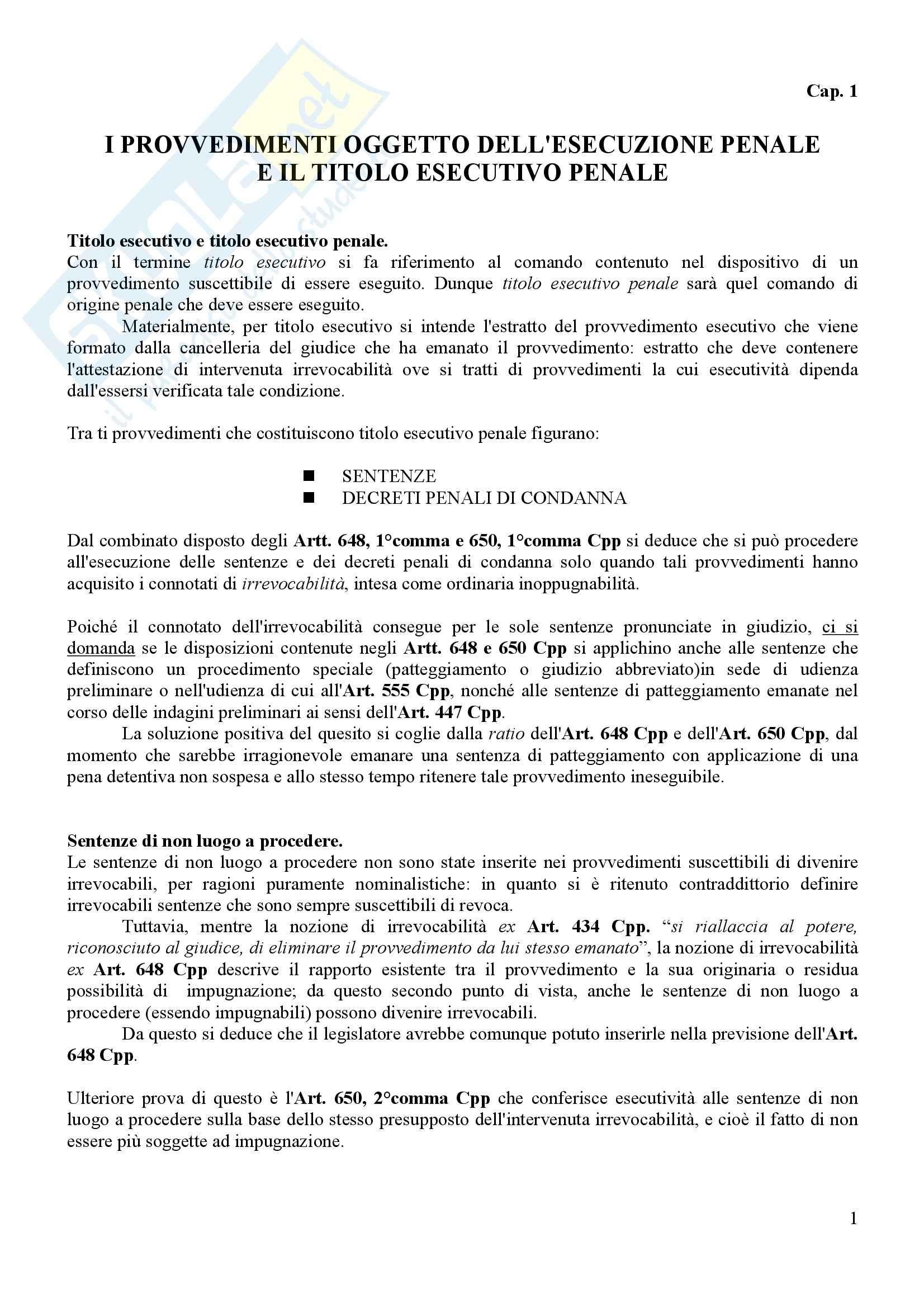 Procedura penale II - esecuzione penale