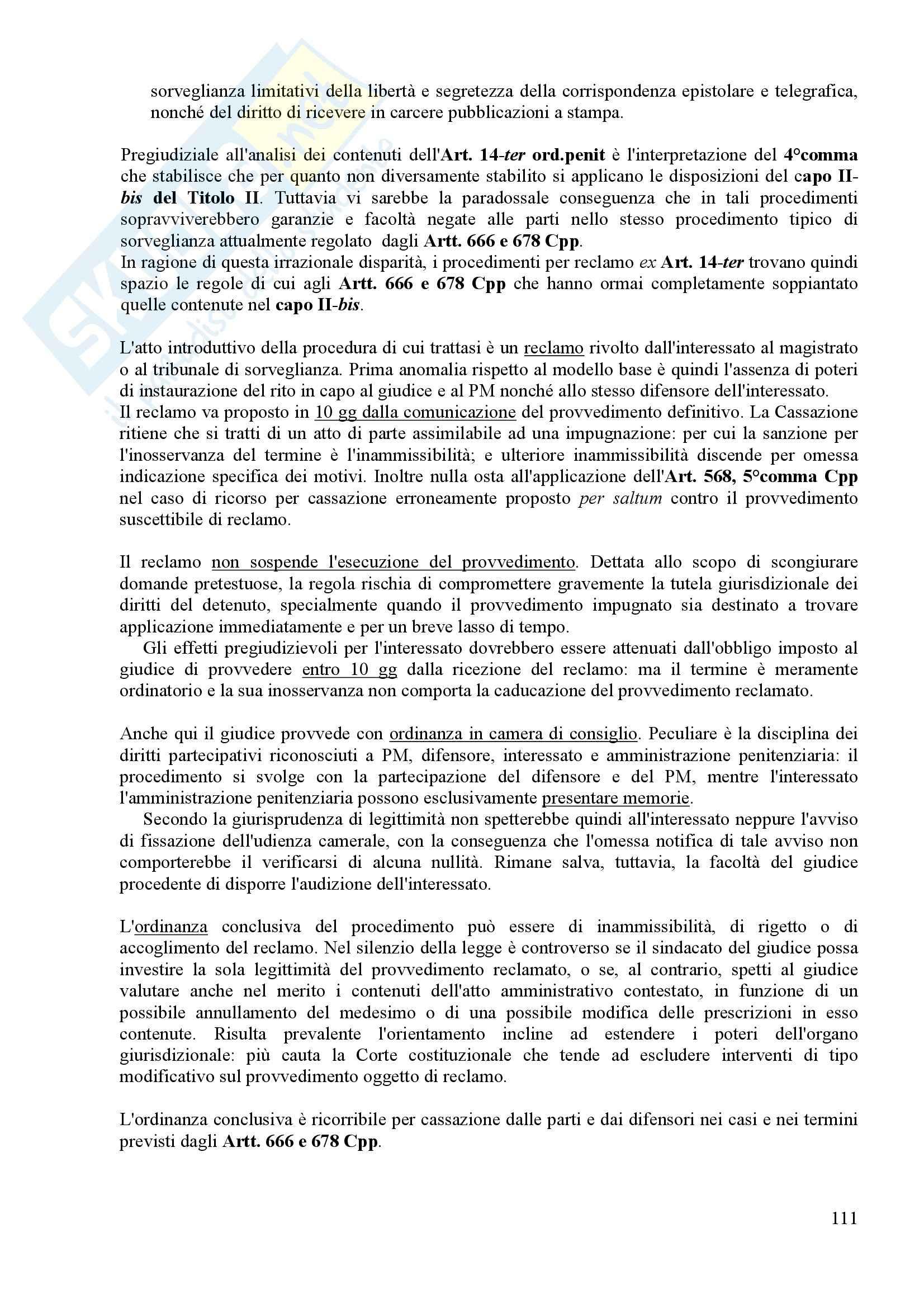 Procedura penale II - esecuzione penale Pag. 111