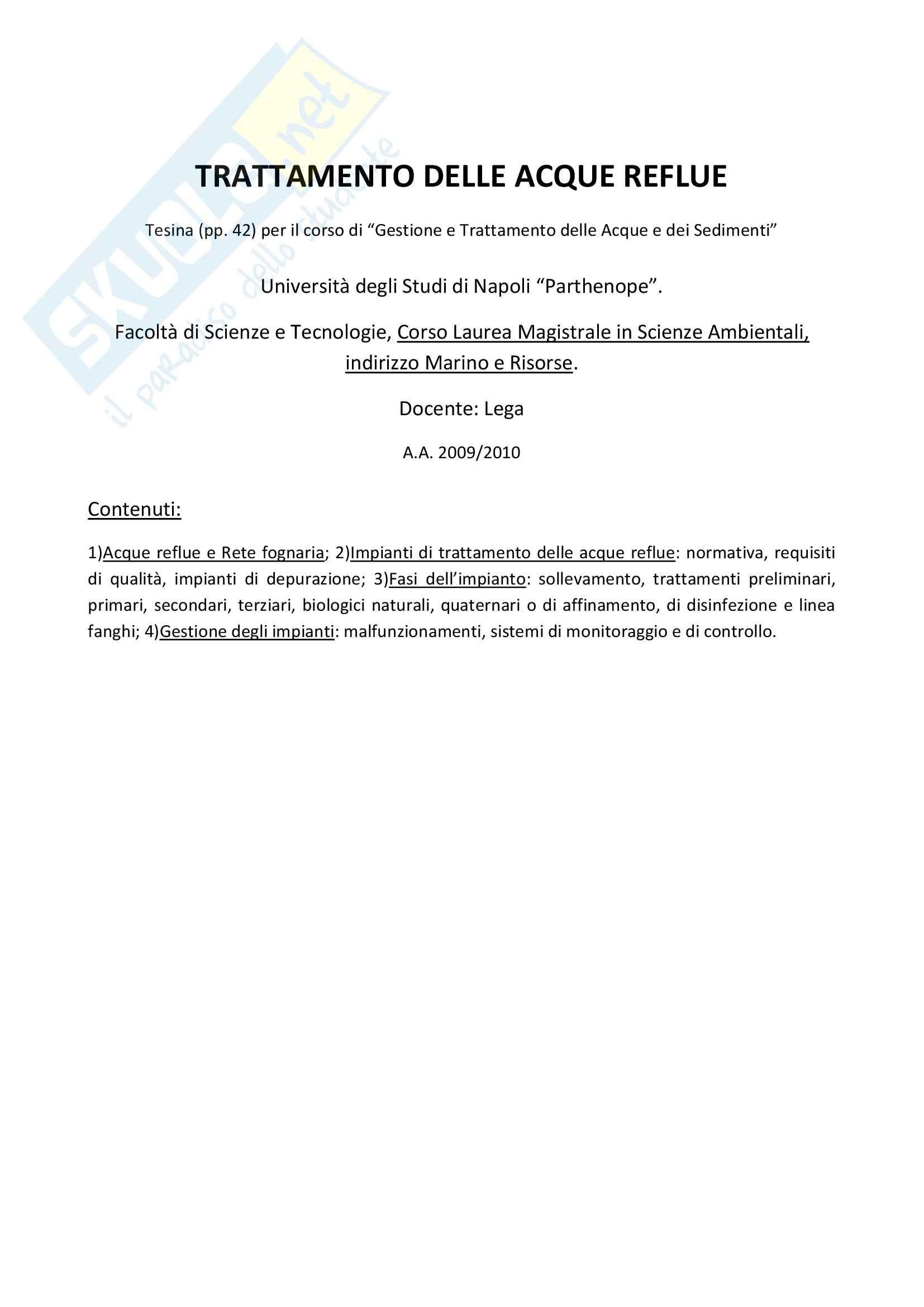 Trattamento delle Acque Reflue - Tesina