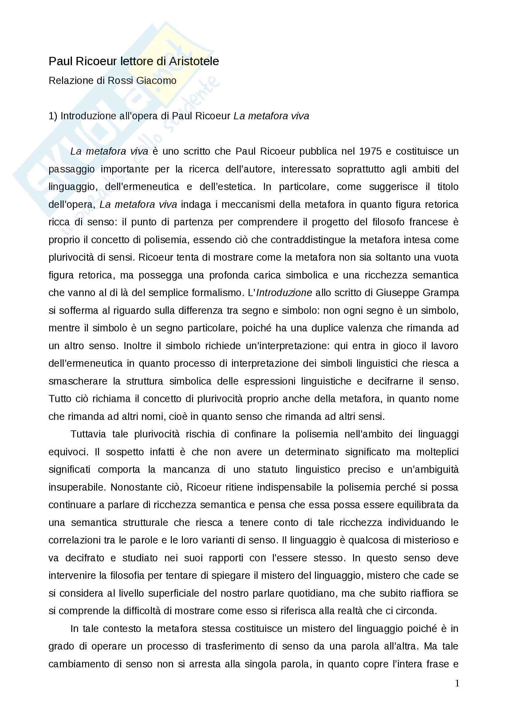 """Relazione su Paul Ricoeur, """"La metafora viva"""": Esercitazione di Estetica"""