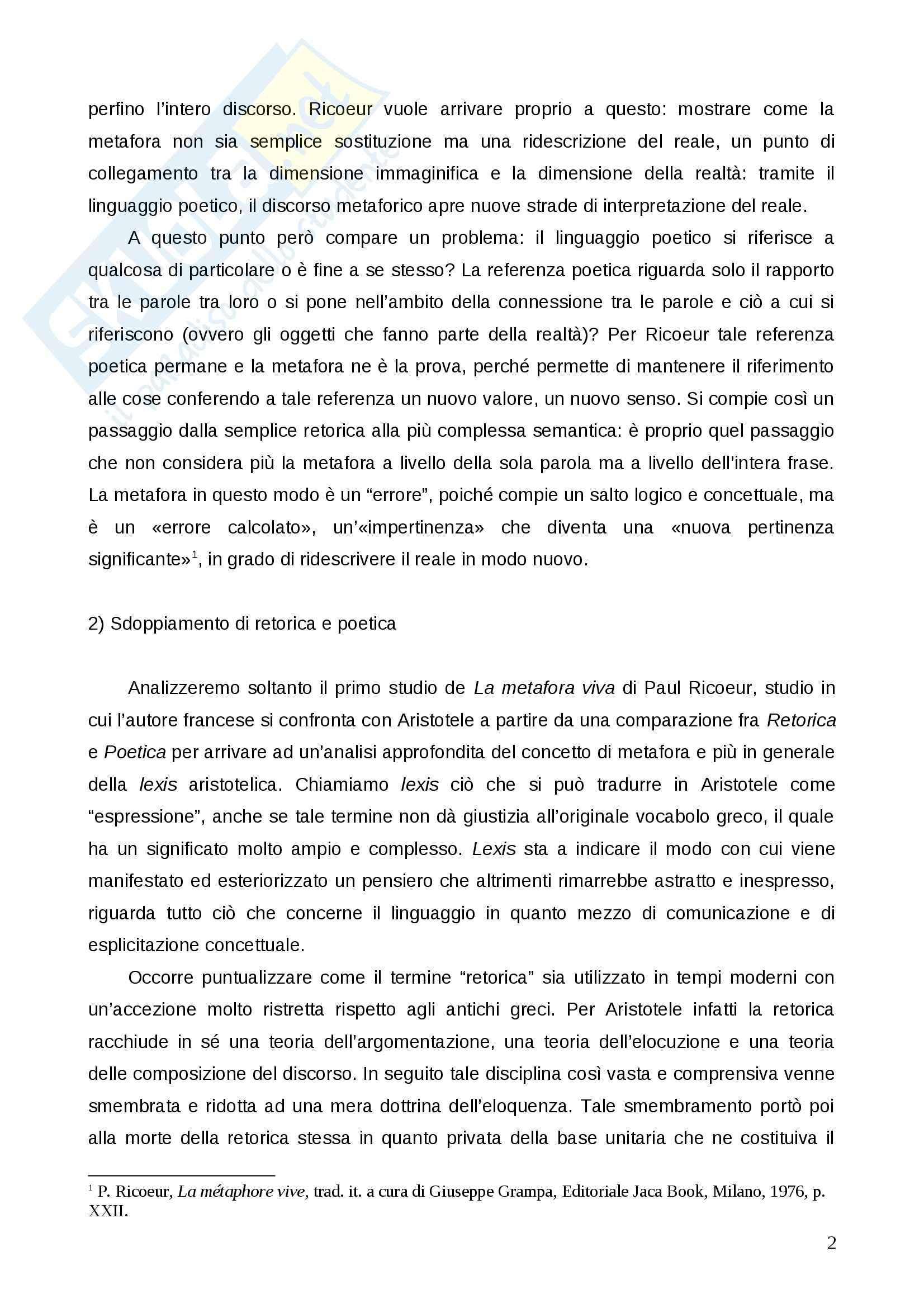 """Relazione su Paul Ricoeur, """"La metafora viva"""": Esercitazione di Estetica Pag. 2"""