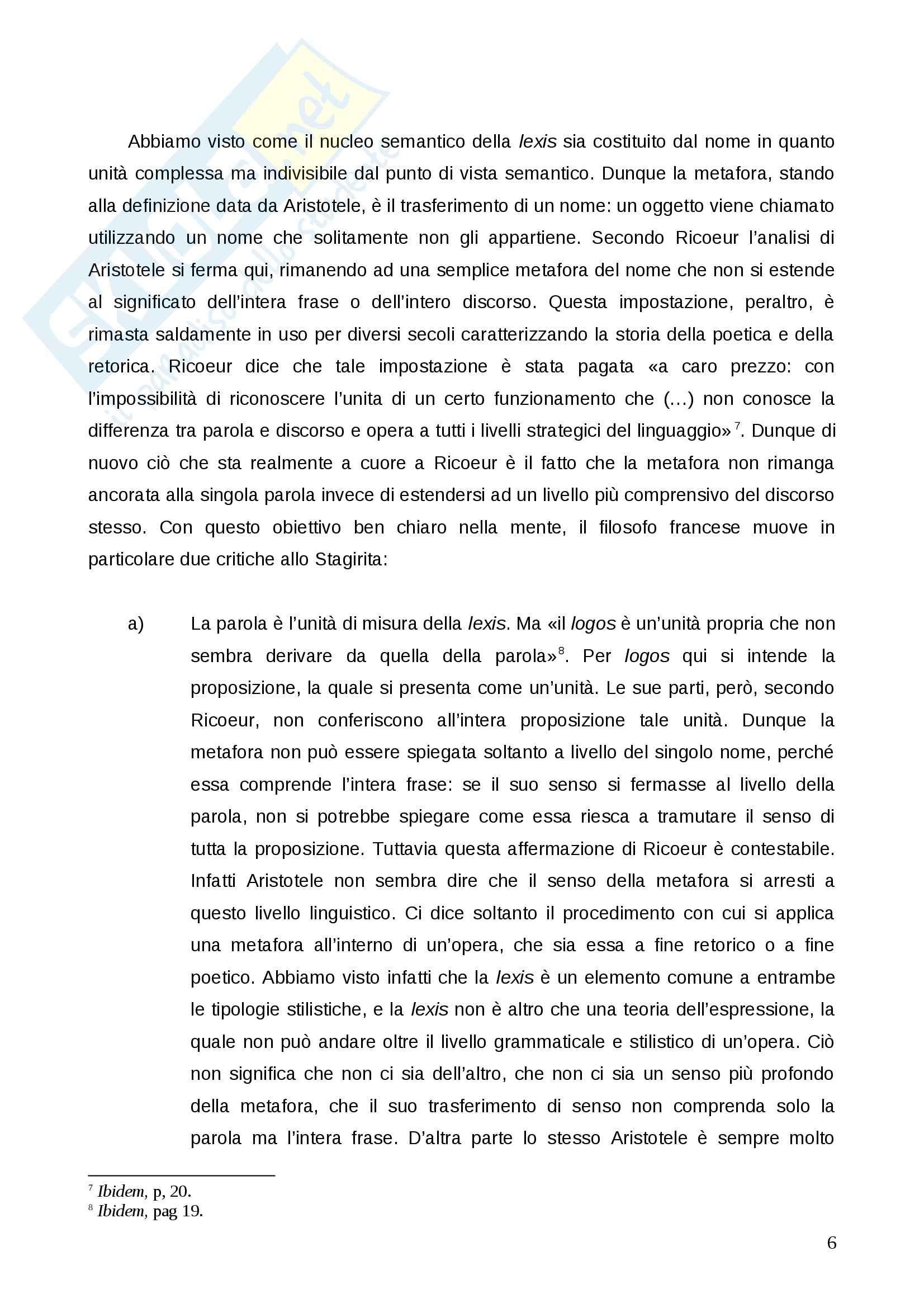 """Relazione su Paul Ricoeur, """"La metafora viva"""": Esercitazione di Estetica Pag. 6"""