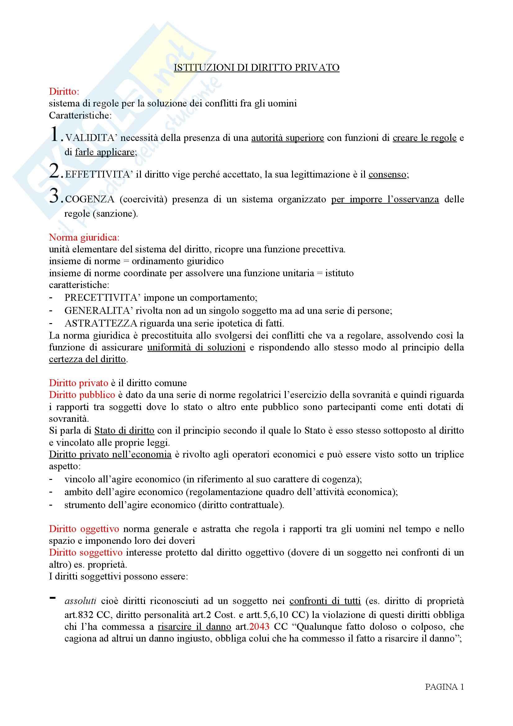 Riassunto esame Diritto Privato, prof. Rolli, libro consigliato Istituzioni di Diritto Privato, Galgano