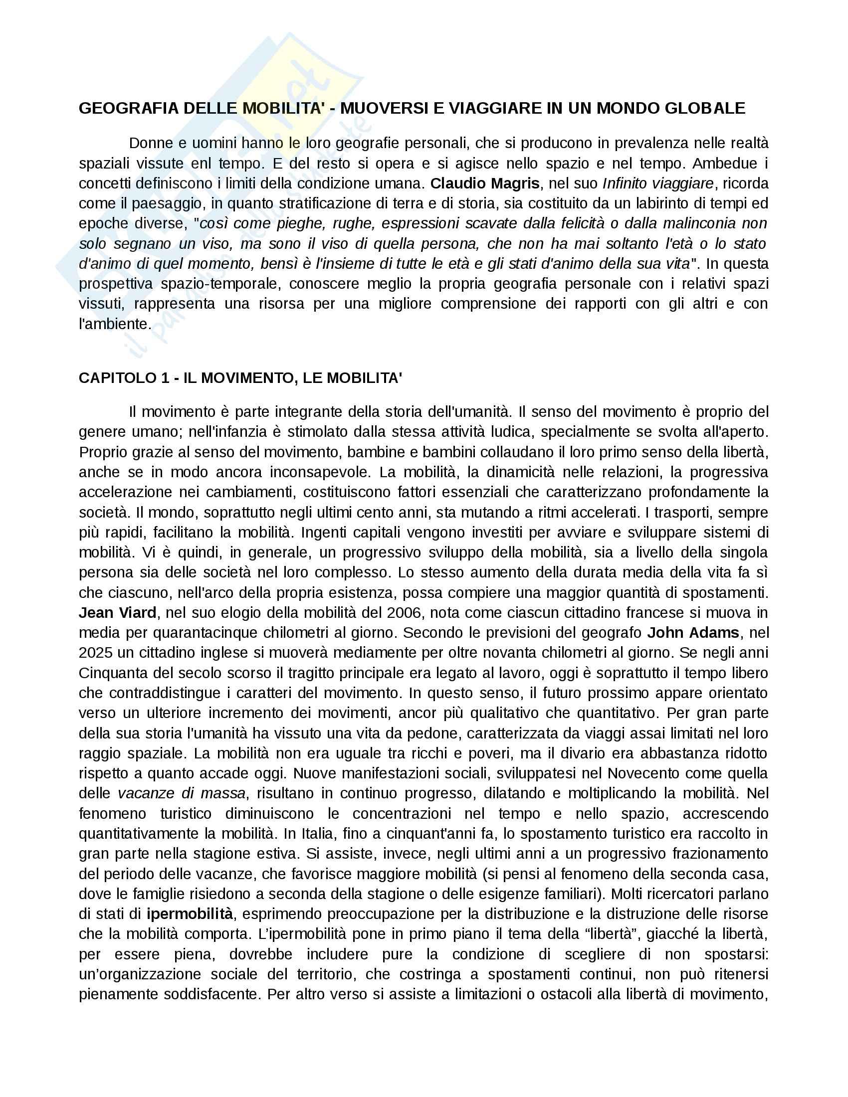 Riassunto esame Geografia, prof. De Vecchis, libro consigliato Geografia delle mobilità. Muoversi e viaggiare in un mondo globale, De Vecchis