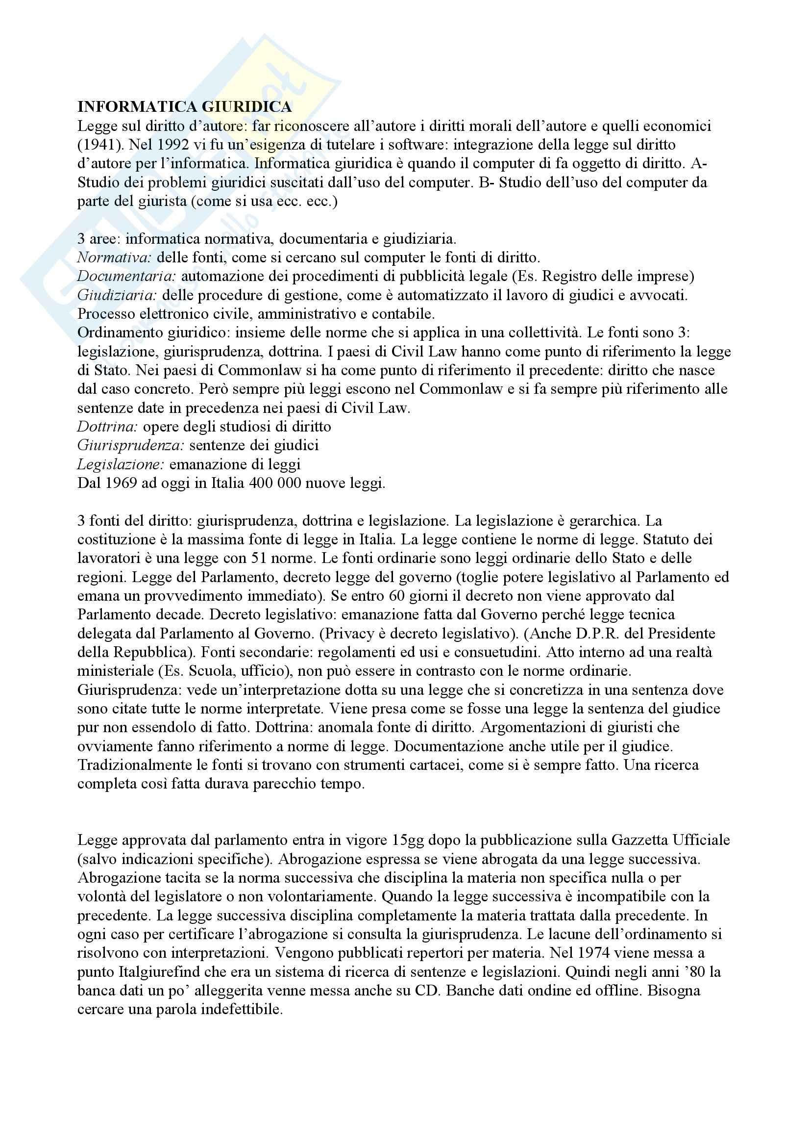 Informatica giuridica - Appunti