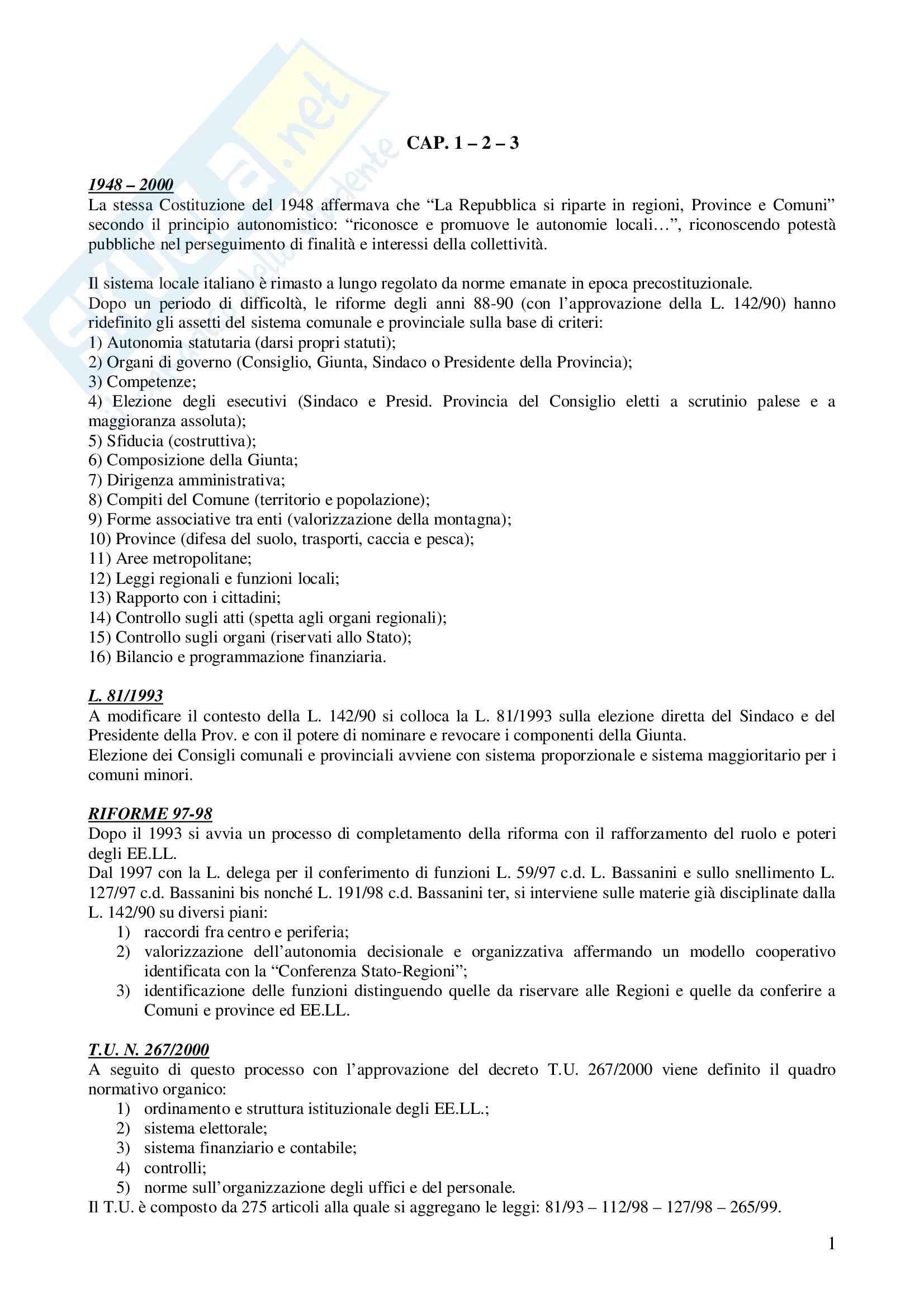 Riassunto esame Diritto degli Enti Locali, prof. Di Lieto, libro consigliato Il sistema delle autonomie locali, Vandelli